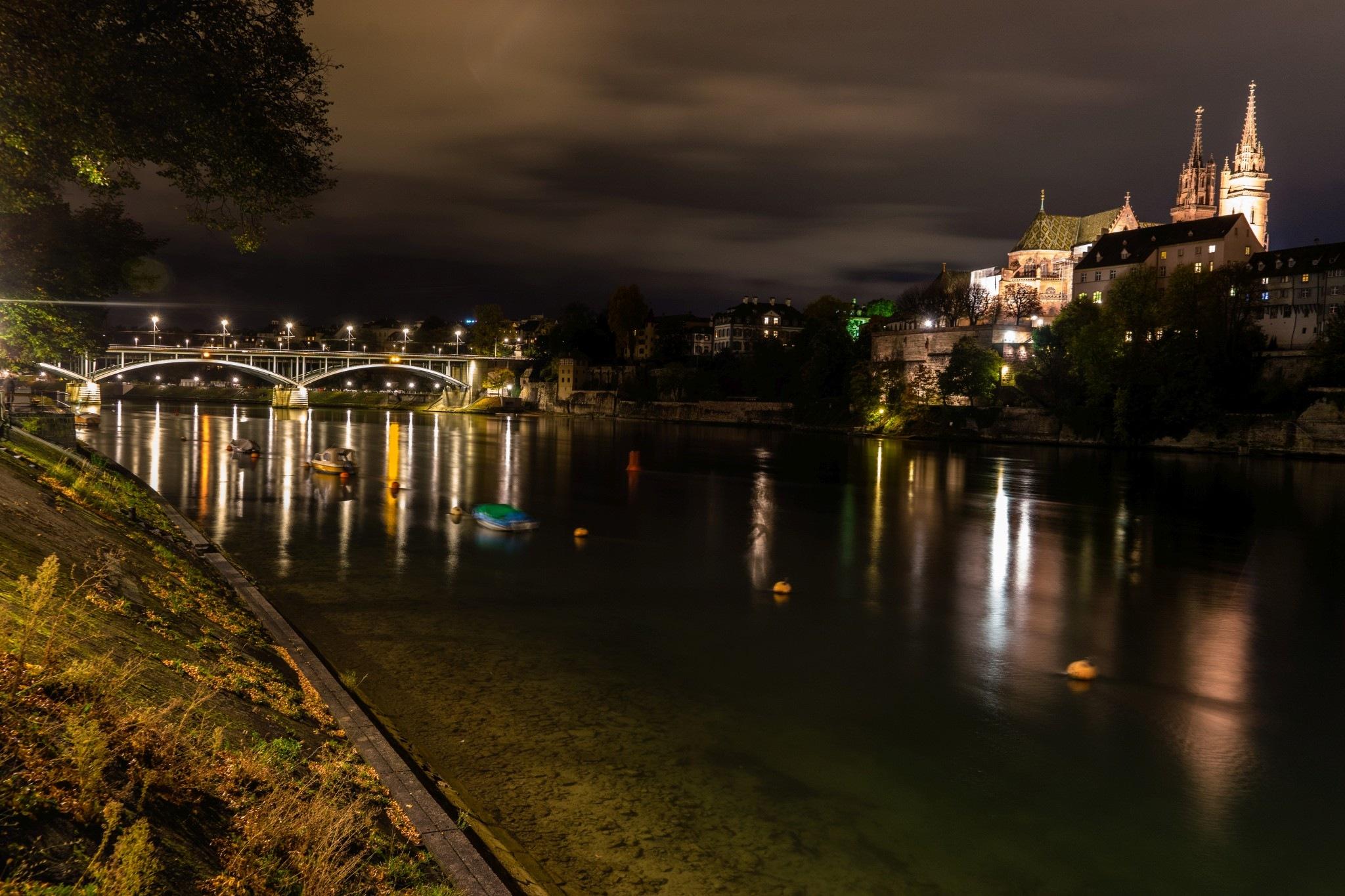Basel, Münster und Wettsteinbrücke bei Nacht by Hansjuerg Buehler
