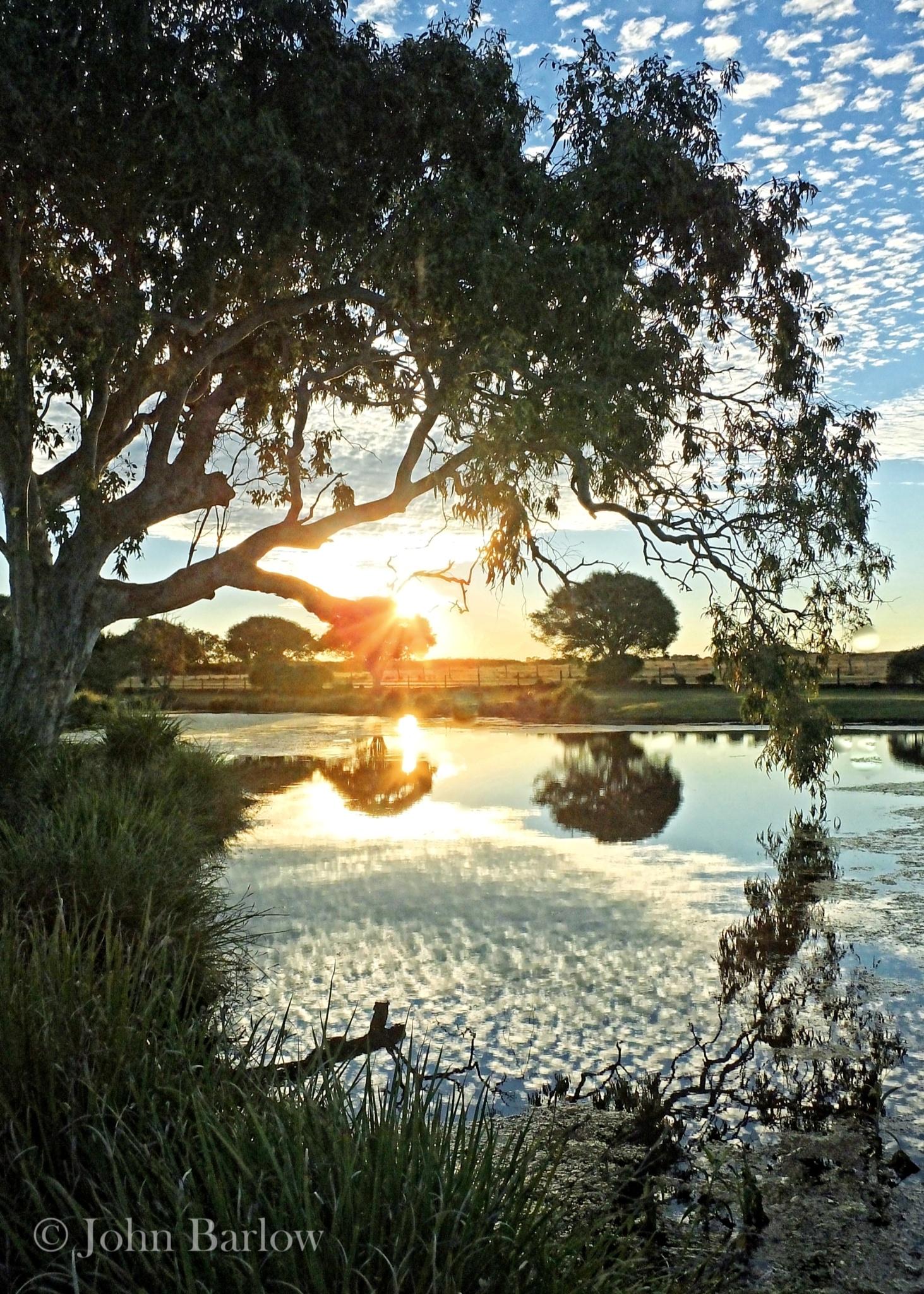 Sunset Over The Billabong by John Barlow
