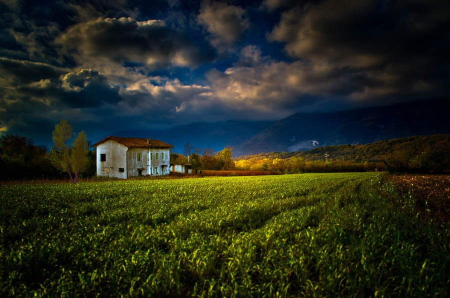 Photo in Landscape #grass #field #clouds #mountains #house #trees