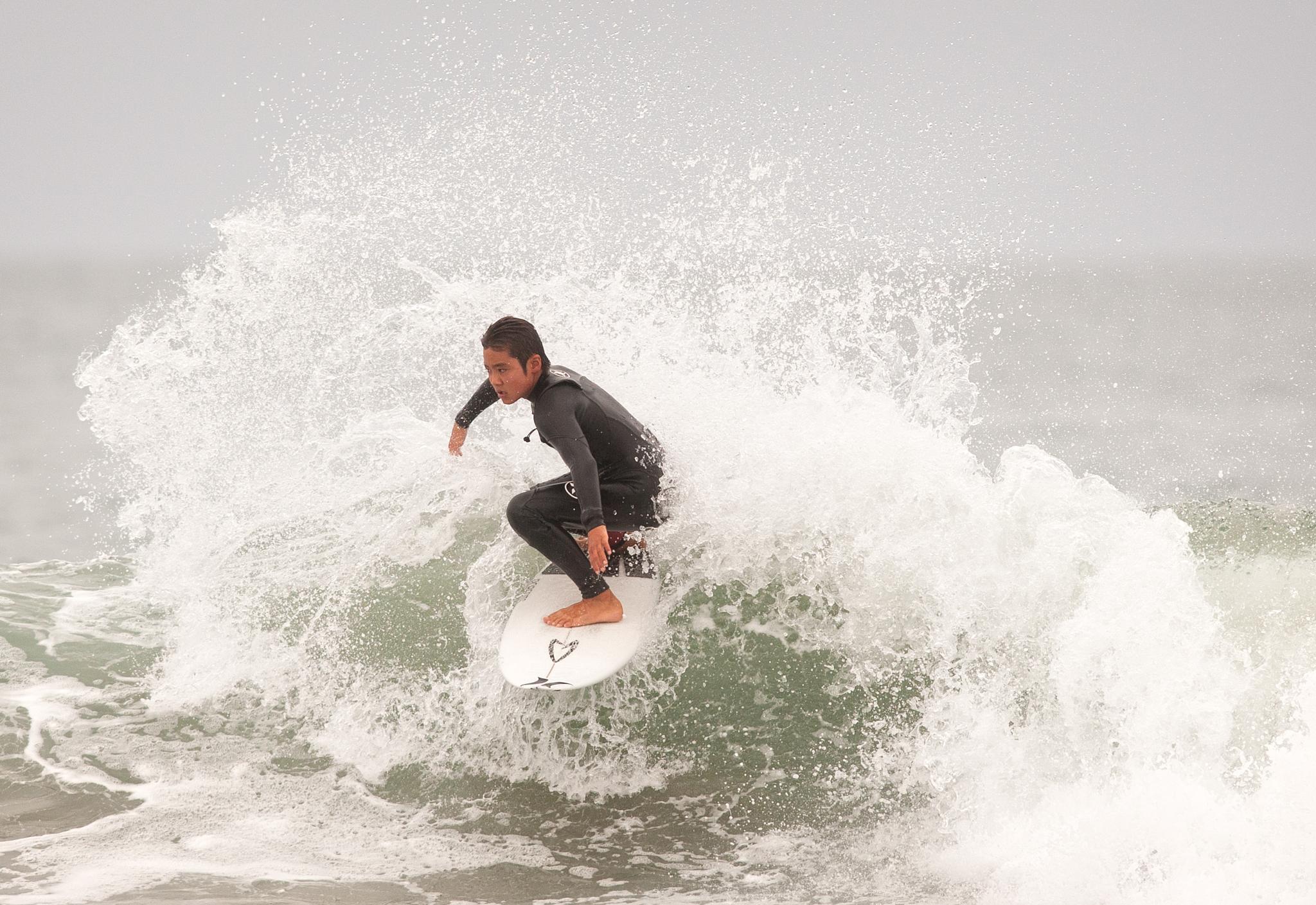 Taro Watanabe - a young surfer at Huntington Beach Pier Southside 08.22.2015 by blueskyoveraquatic