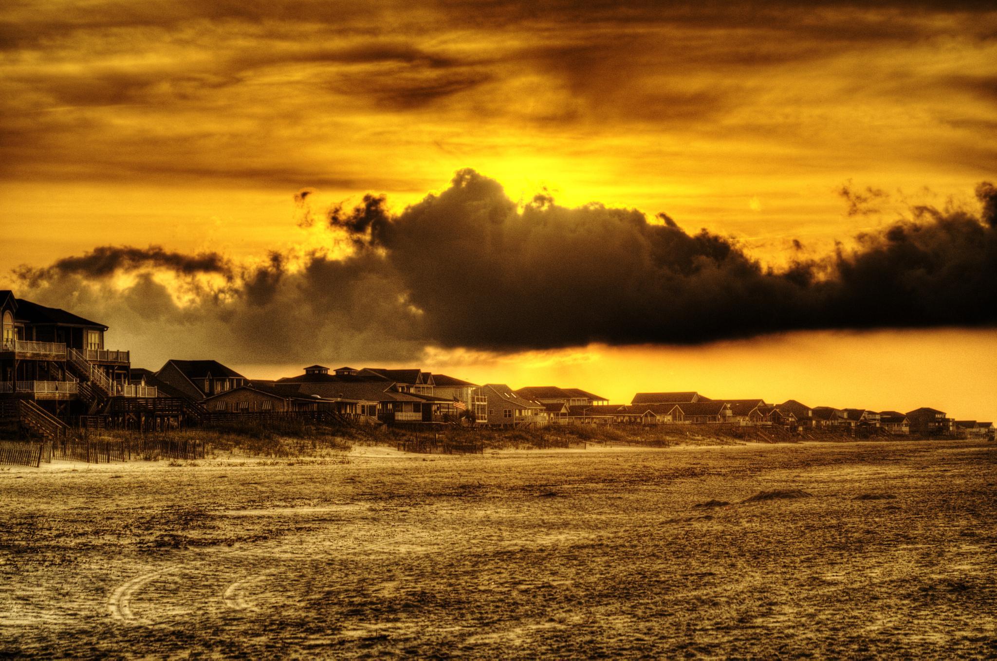 Sunrise over Beach Houses by Brett Richardson