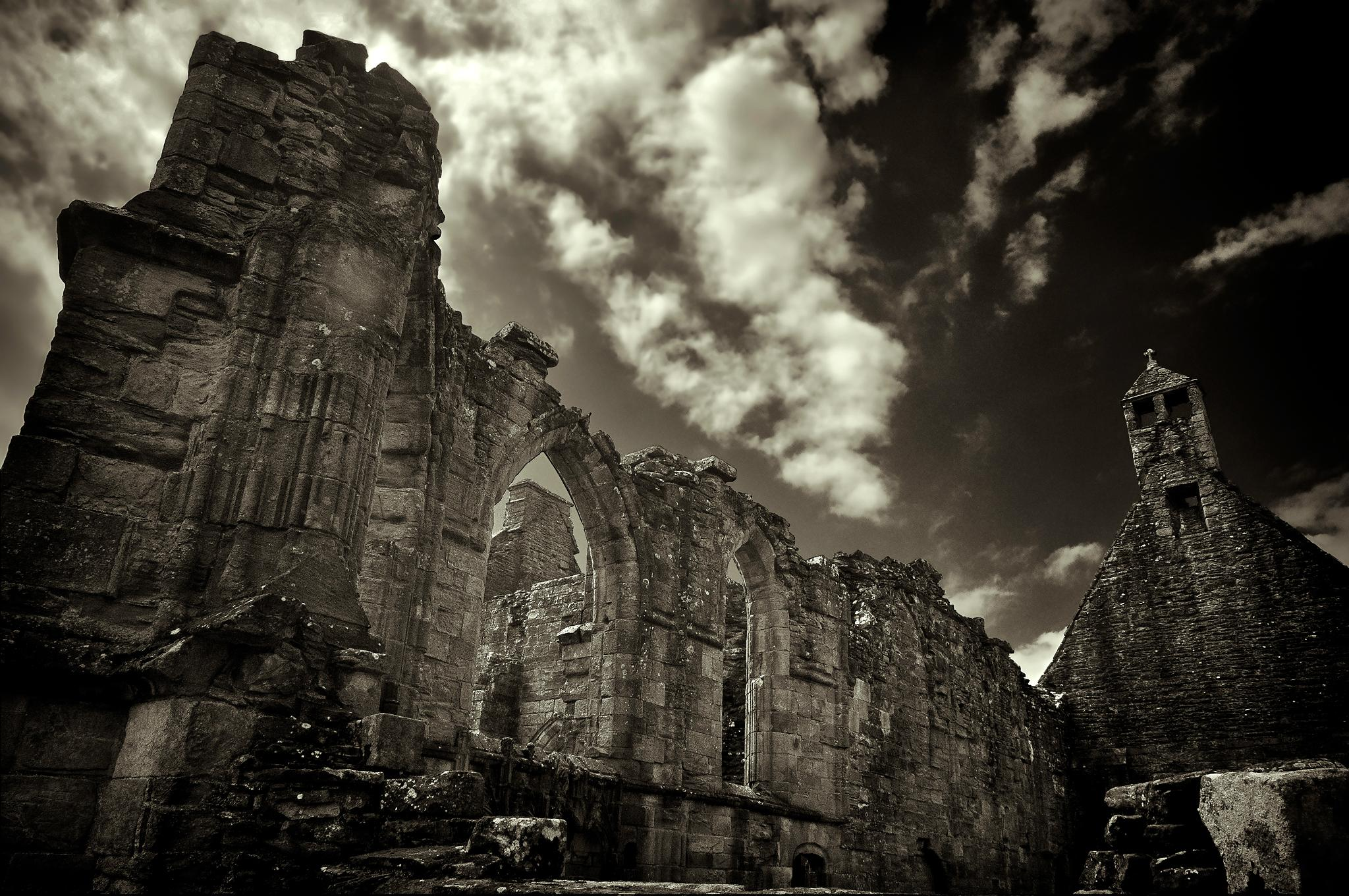Crossraguel Abbey wide angle (black and white) by scrawcreations  (Stephen)