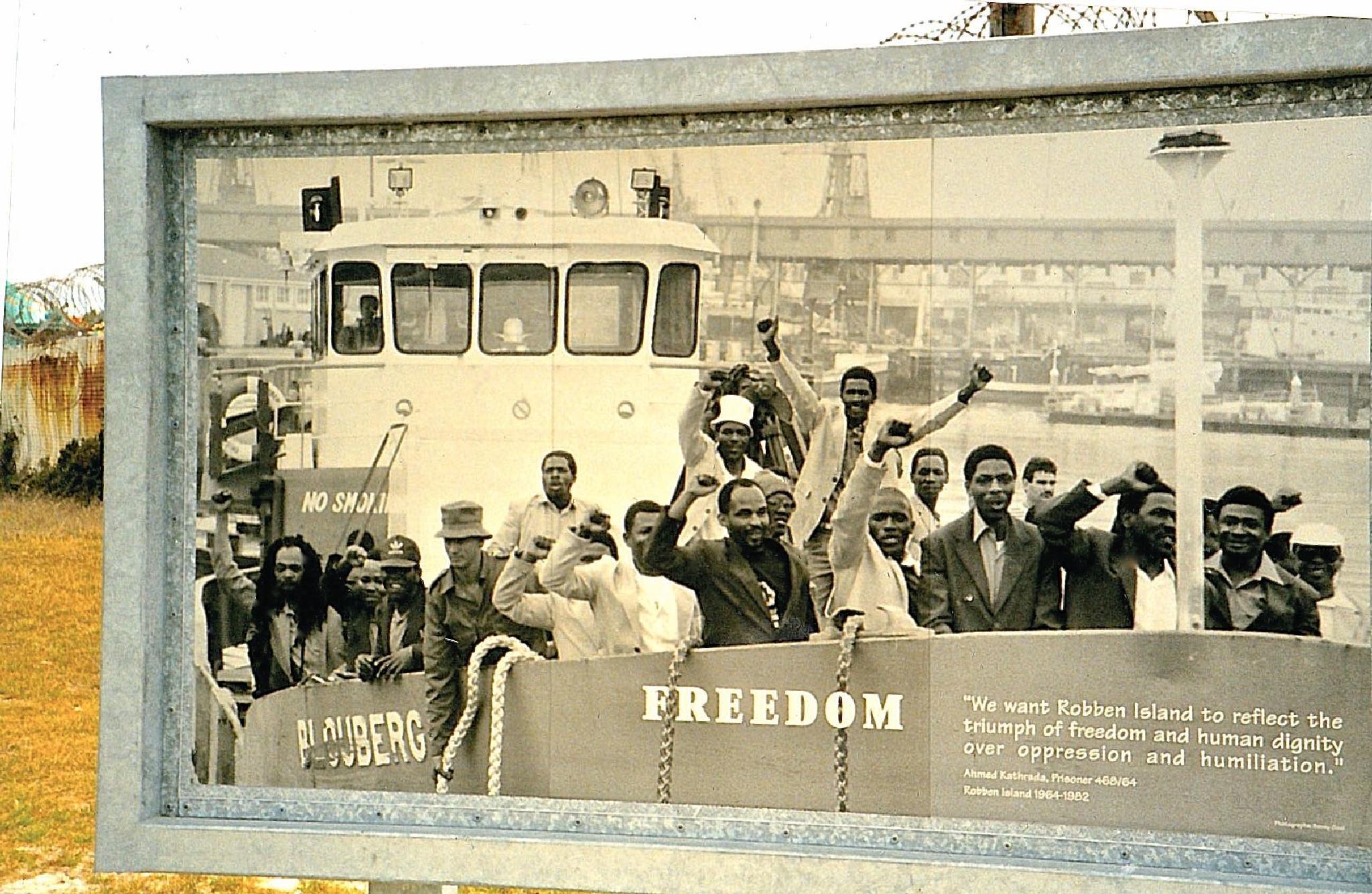 Freedom Sign- Robben Island by Marcy Herrick