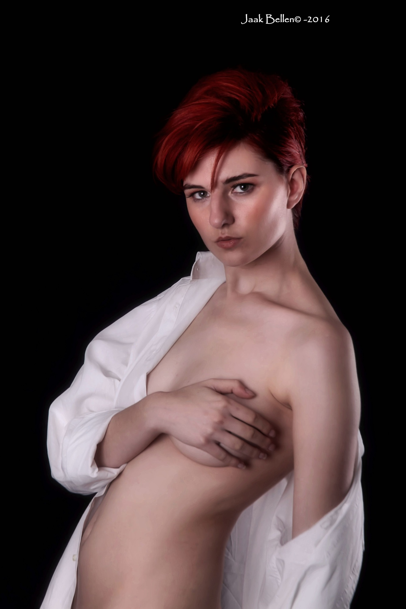 Sara semi nude portrait... by Jaak BELLEN