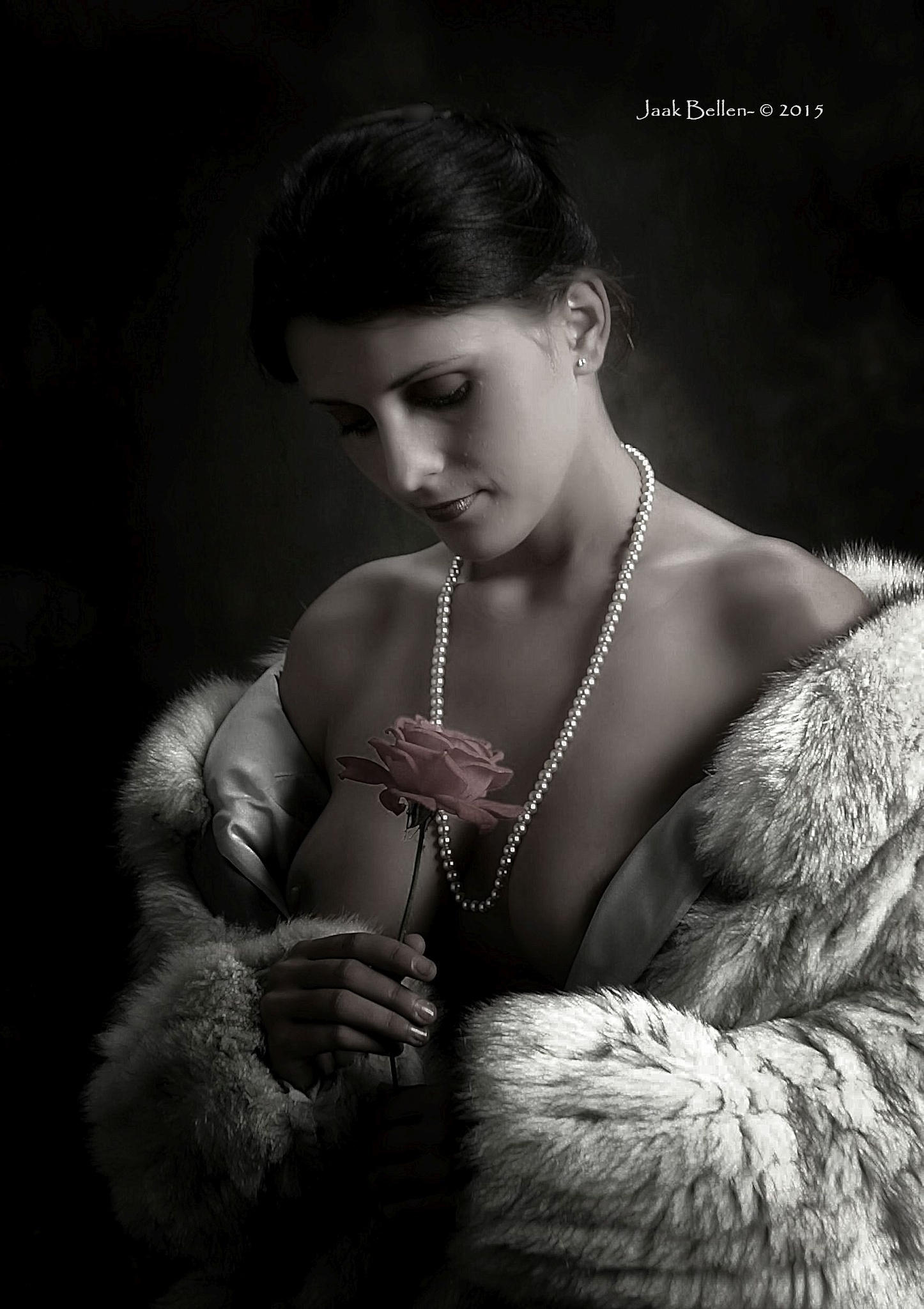 Kristina with a rose... by Jaak BELLEN