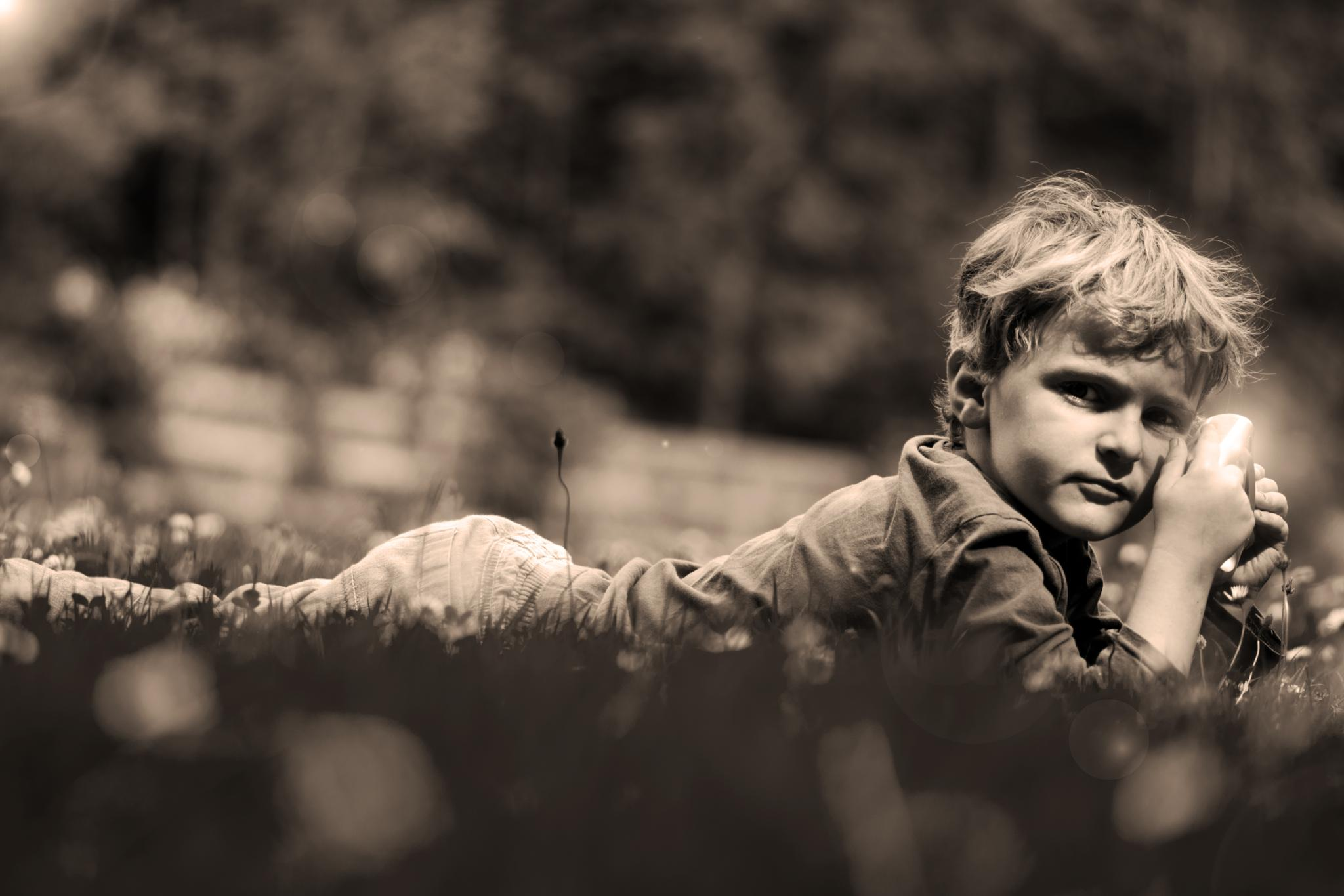 Photo in Black and White #black and white #sepia #portrait #child #light #boy