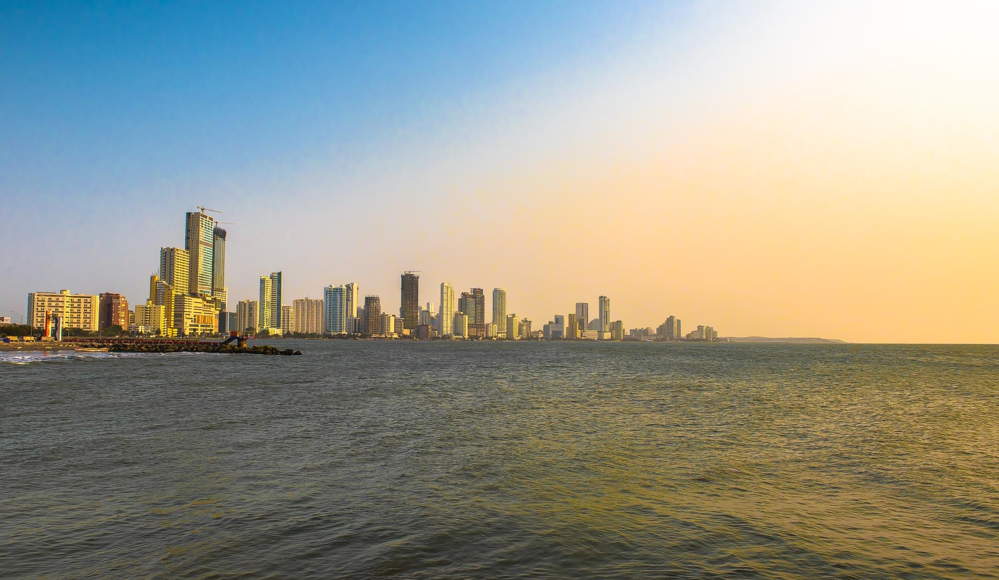 Cartagena Skyline at 6pm by SAFIRE PHOTO