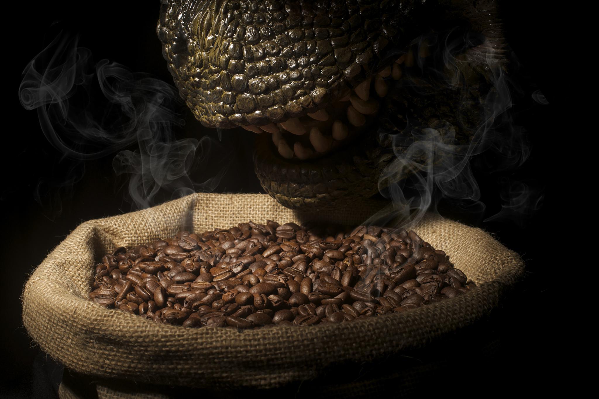 Dinosaur smelling coffee bean... by wooyuenfoo