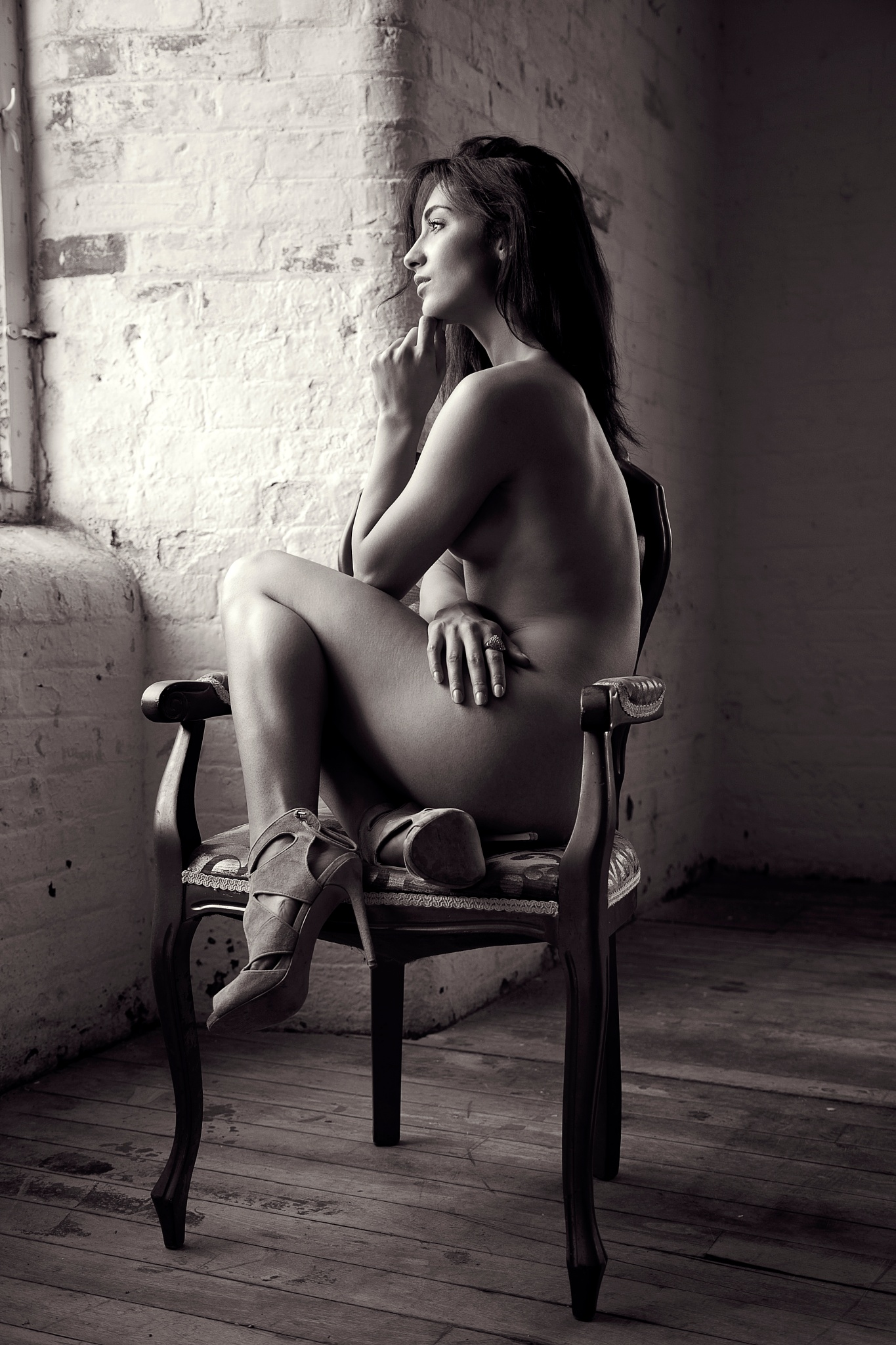 Nude, sitting in the window by NickJamesPhotography