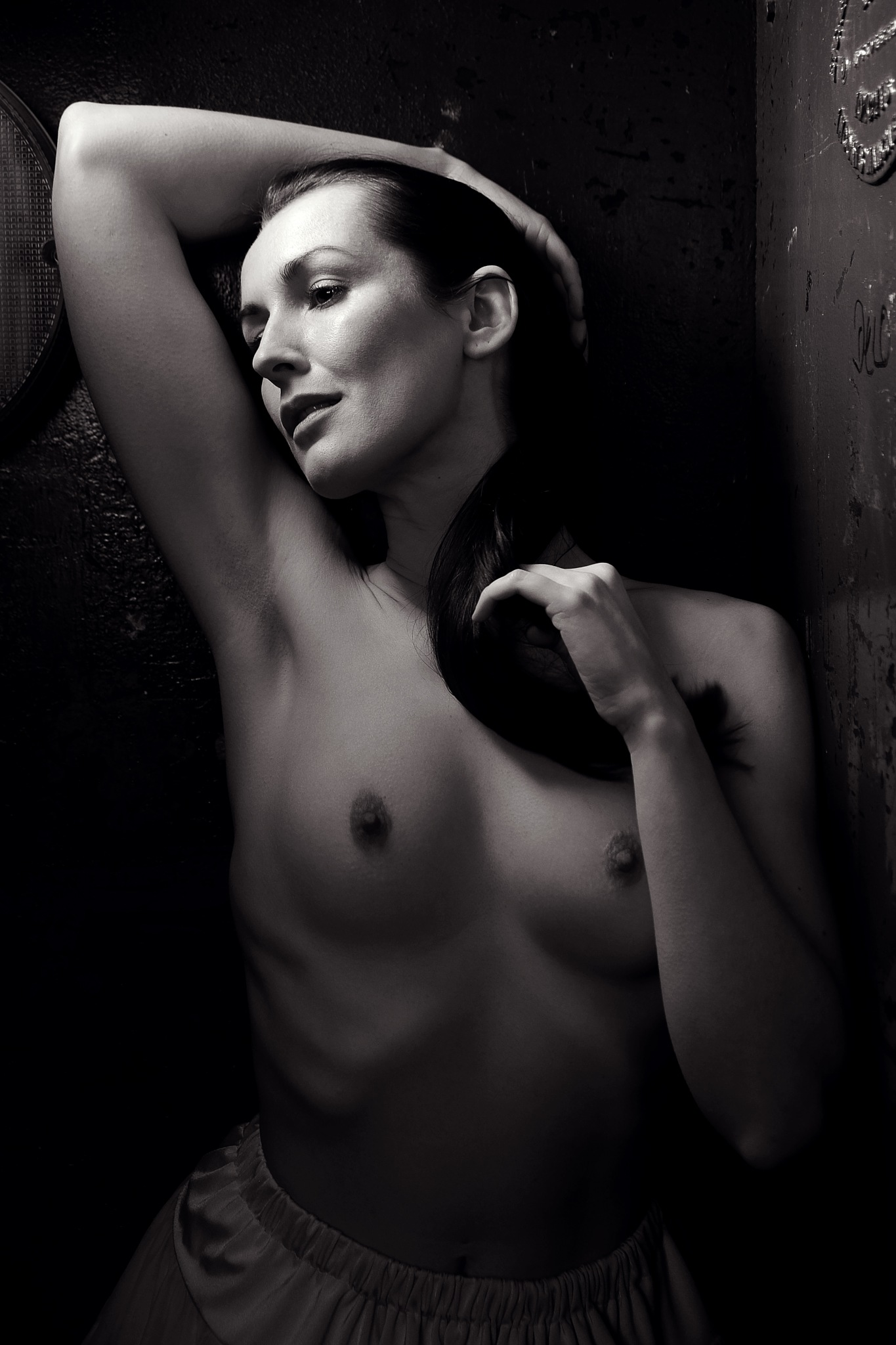 Nude in a lift by NickJamesPhotography