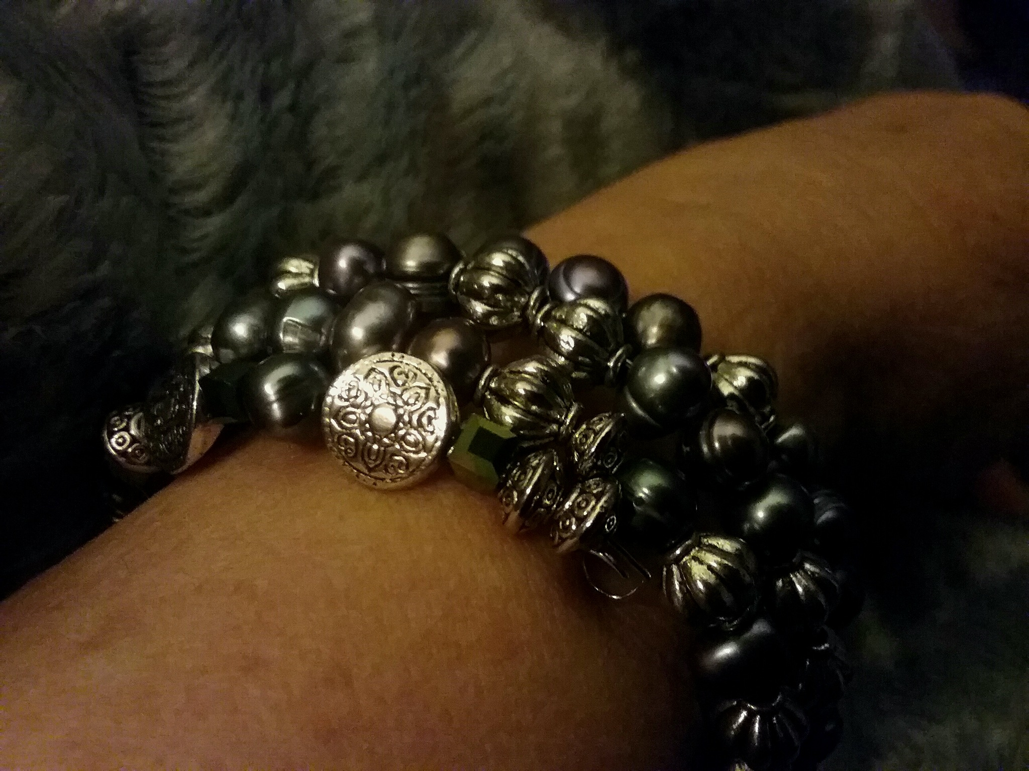 It is raining, so I made  this bracelet.  by TatyanaNagel