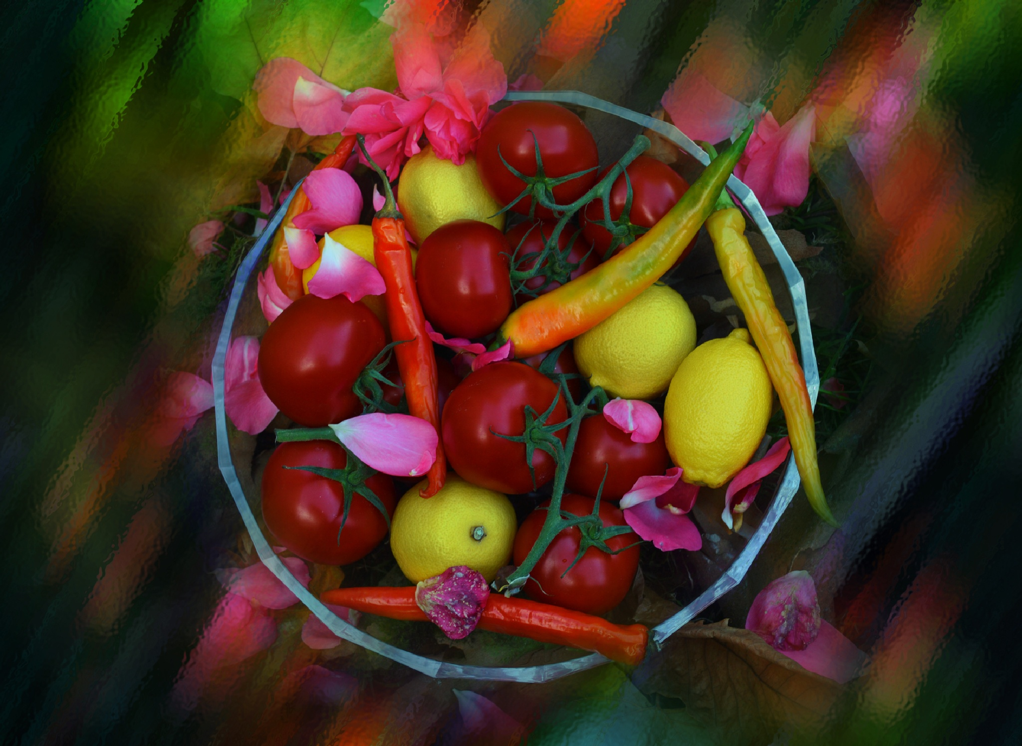 Painting with red, yellow and green by Ludmila Shumilova
