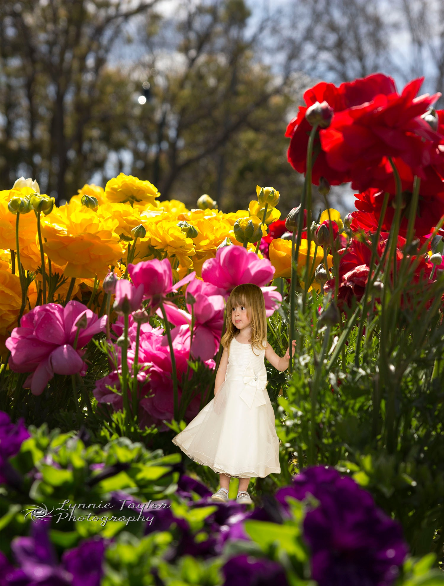 Little Girl in Garden by Lynnie taylor