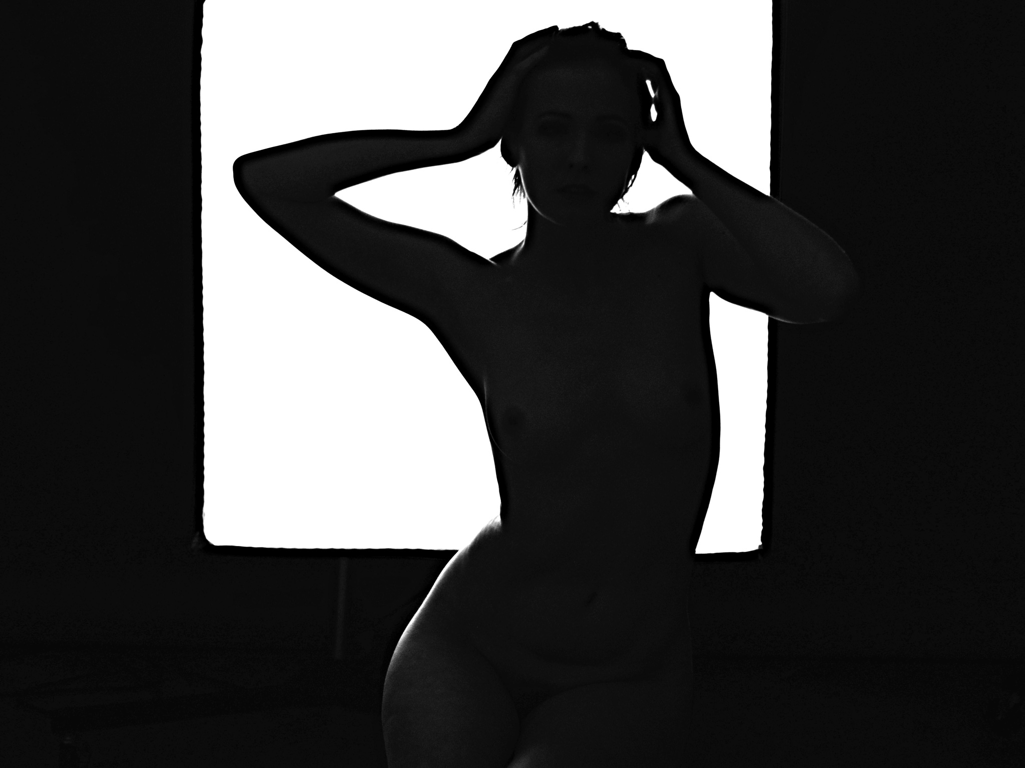 Silhouette of Young Woman. by marcel cintalan