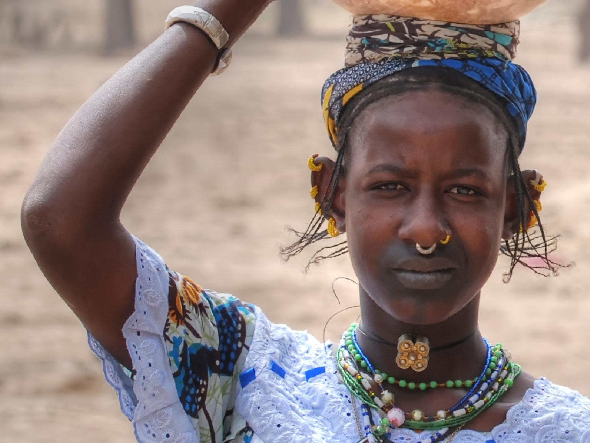 Shy Fulani Girl by Connie M Van Cleve