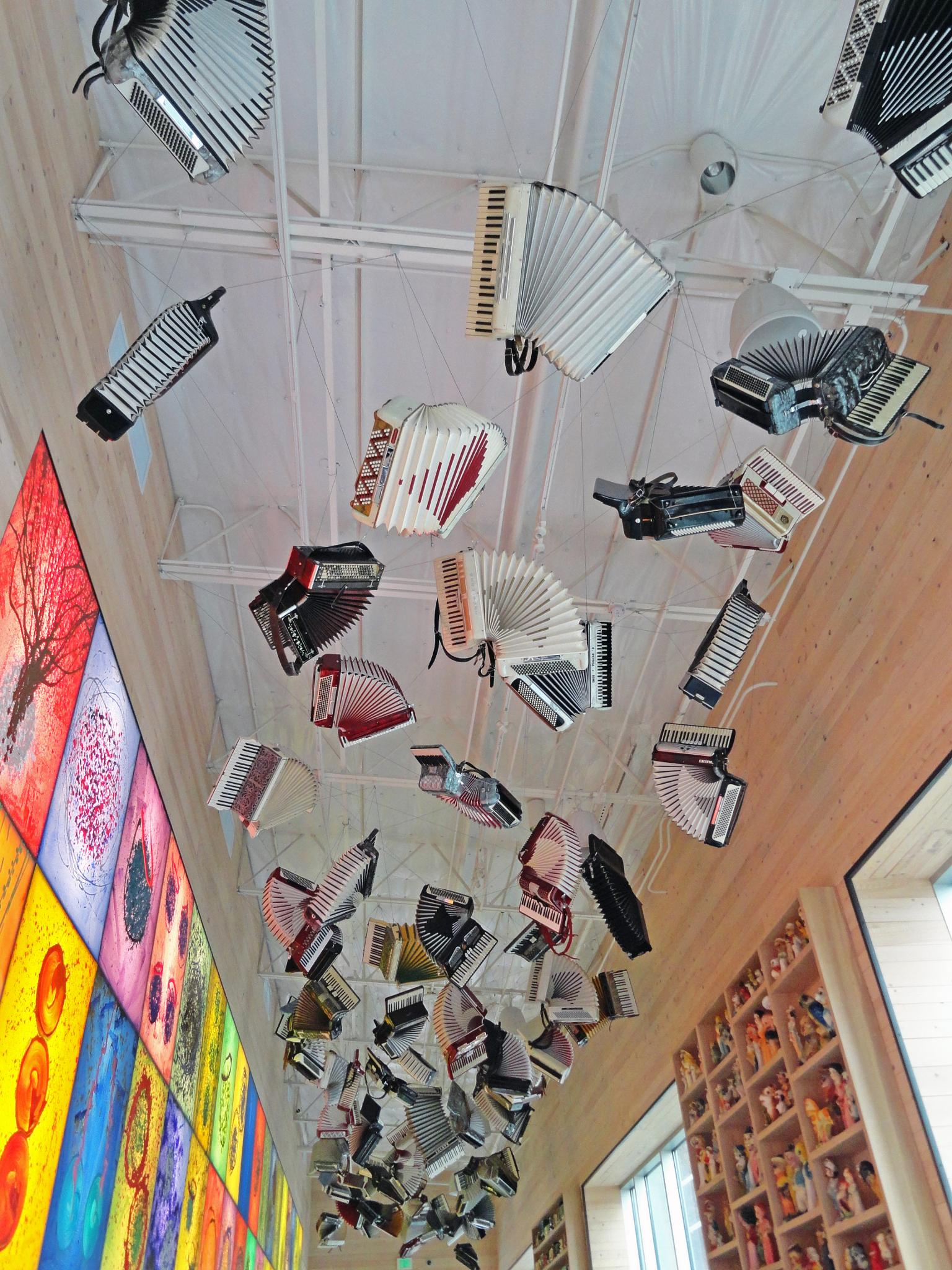 Accordions on ceiling by Ada Montalvo