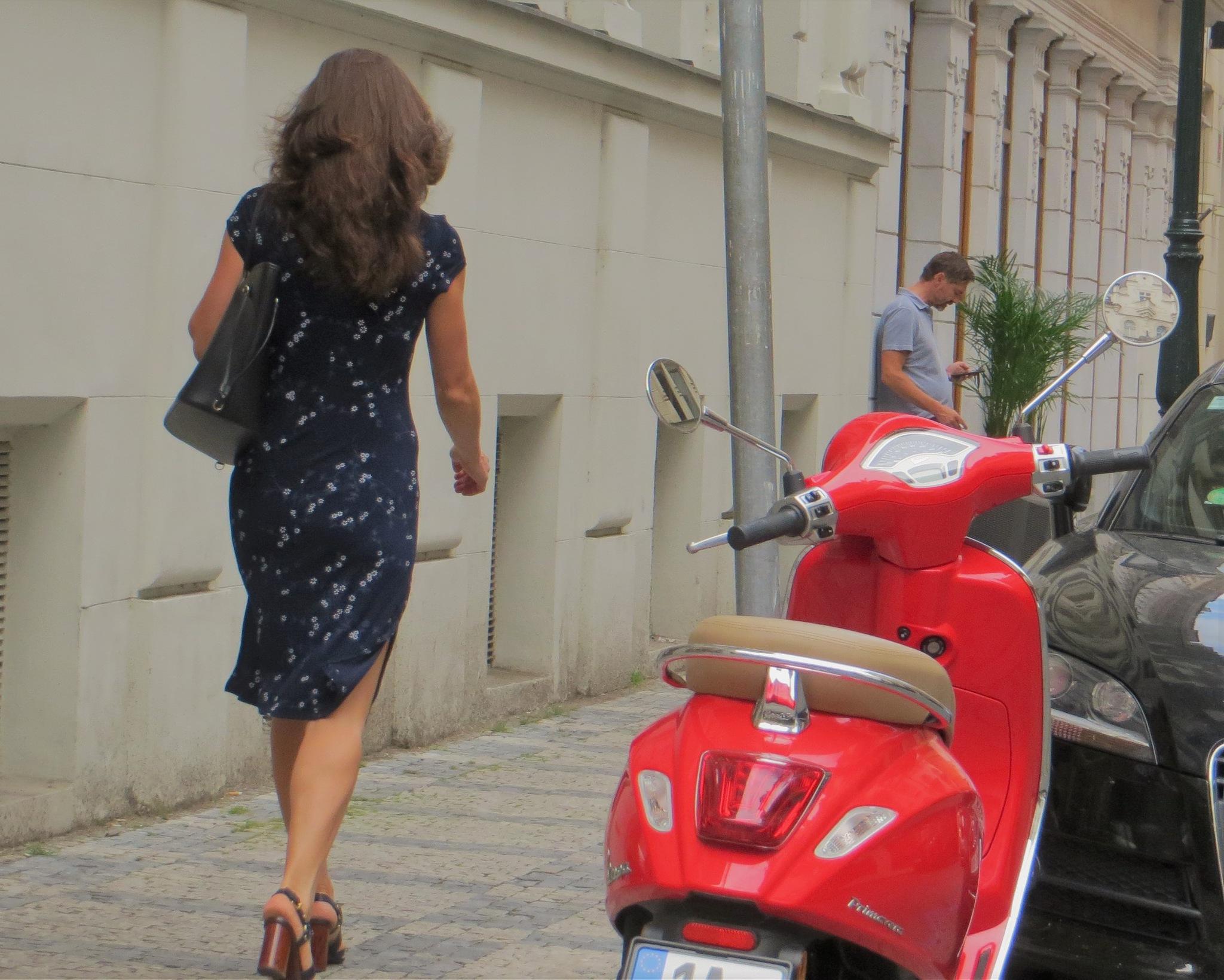 Pretty Woman Walking Down The Street by Barbara Stockford