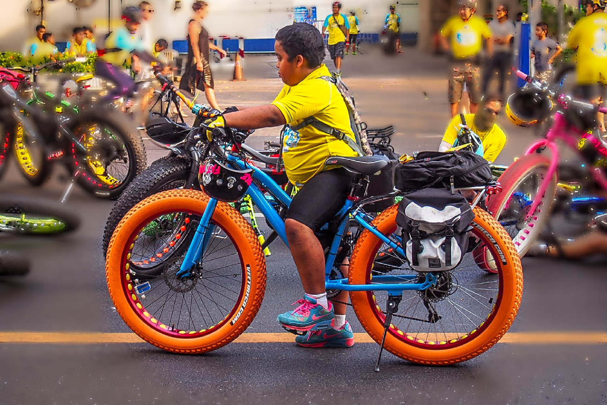 only Yellow and Bicycle Bangkok city  by Kumical