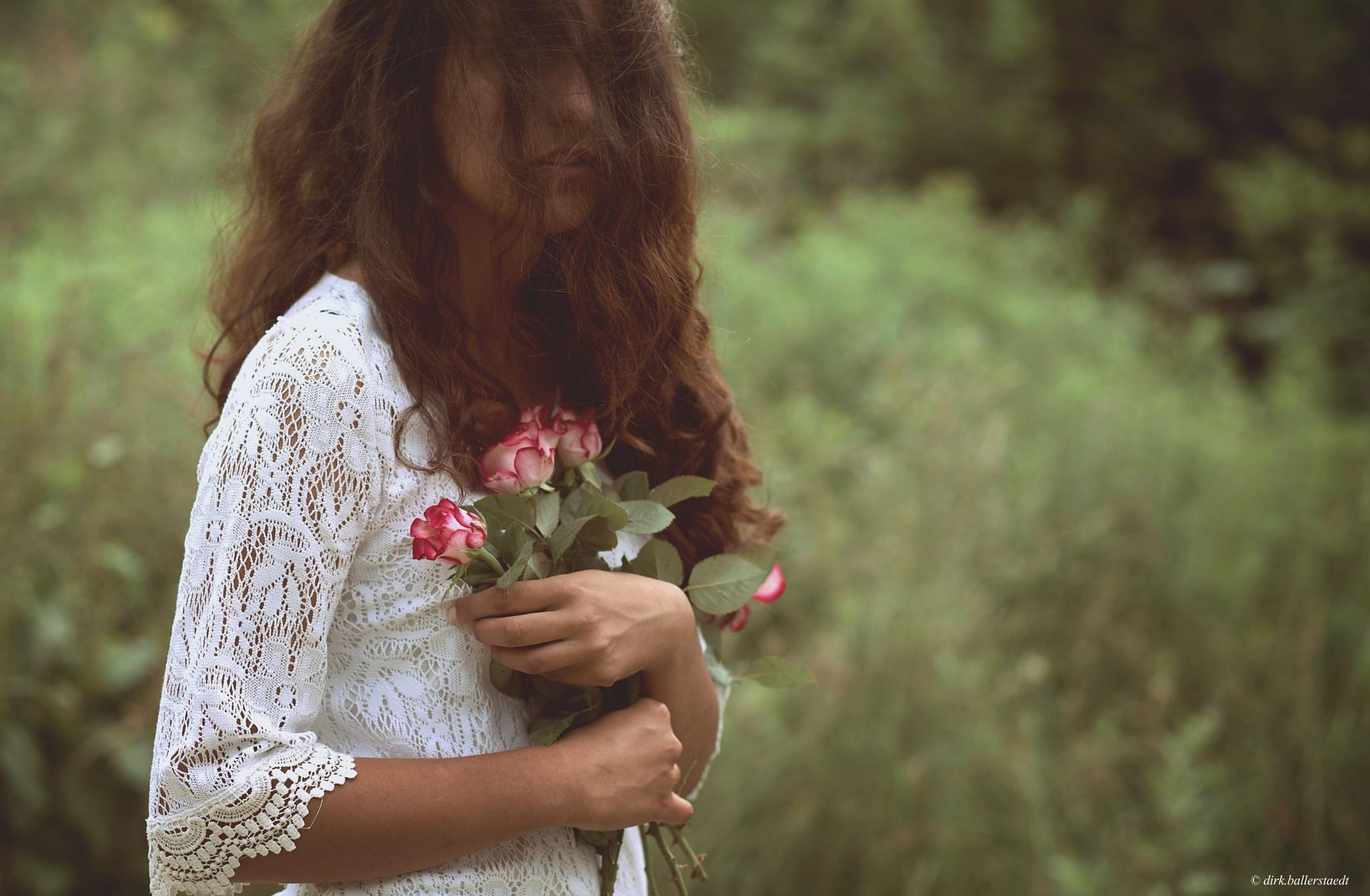 Photo in Portrait #female #outdoor #flowers #colors #sensual #woman #hair #wind #beautiful