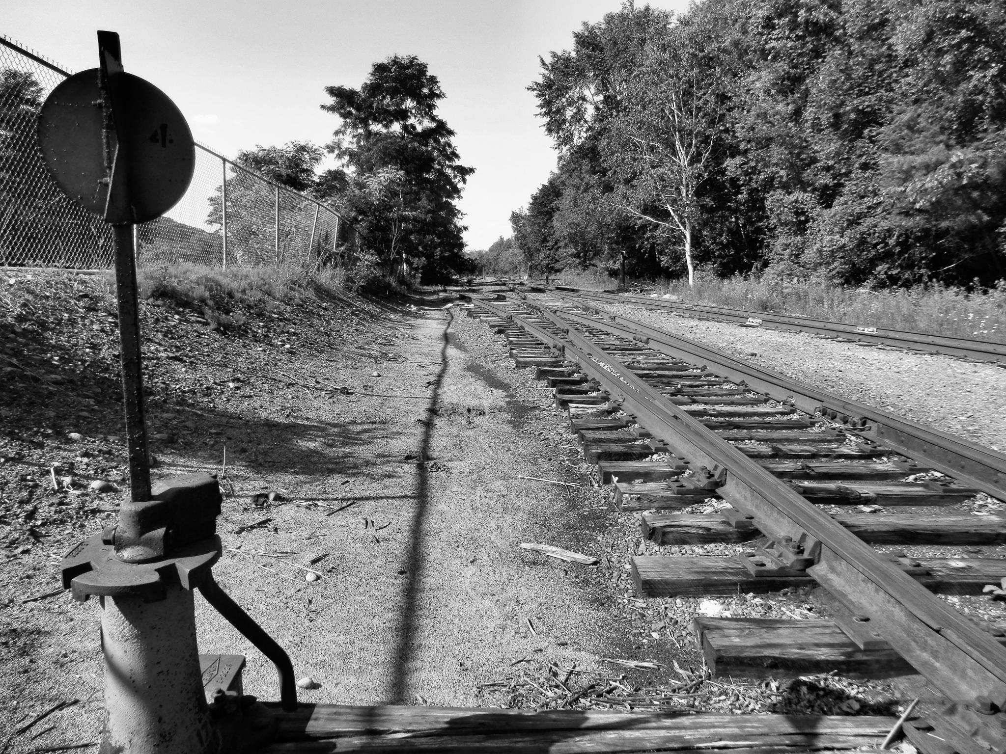 tracks to abandoned mill, Augusta, ME by piersondonna