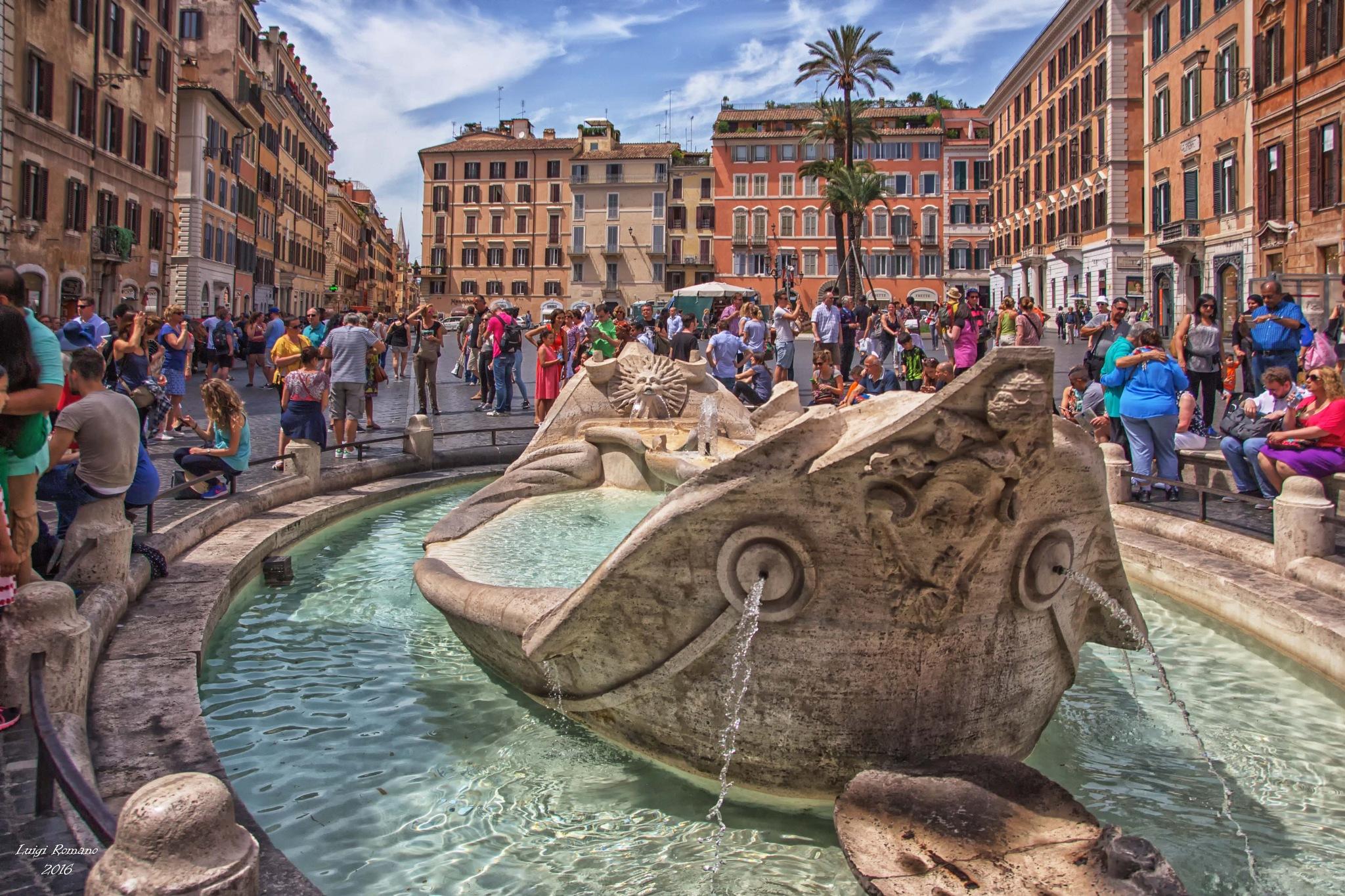 """Rome - The fountain in the Plaza of Spain called """"La Barcaccia"""" by Luigi Romano"""