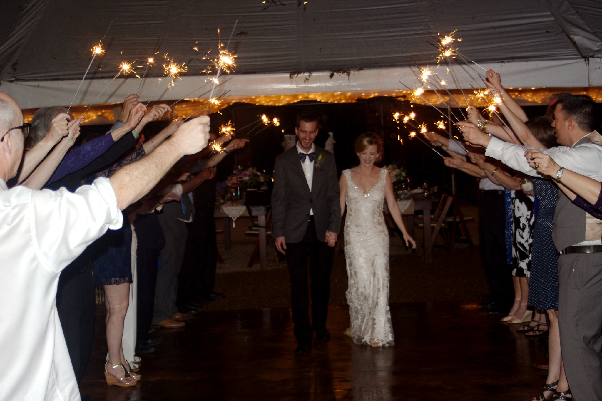 Photo in People #wedding #reception #sparklers #bride #groom #send off #big day