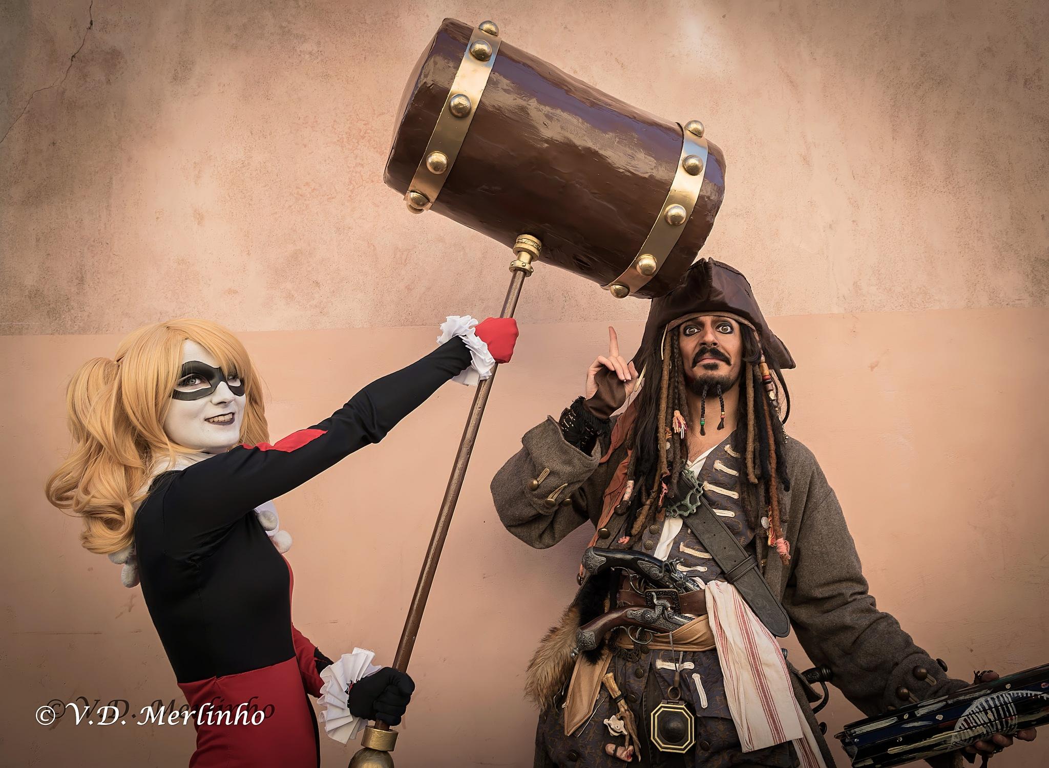 Jack Sparrow, Harley Quinn by merlinho