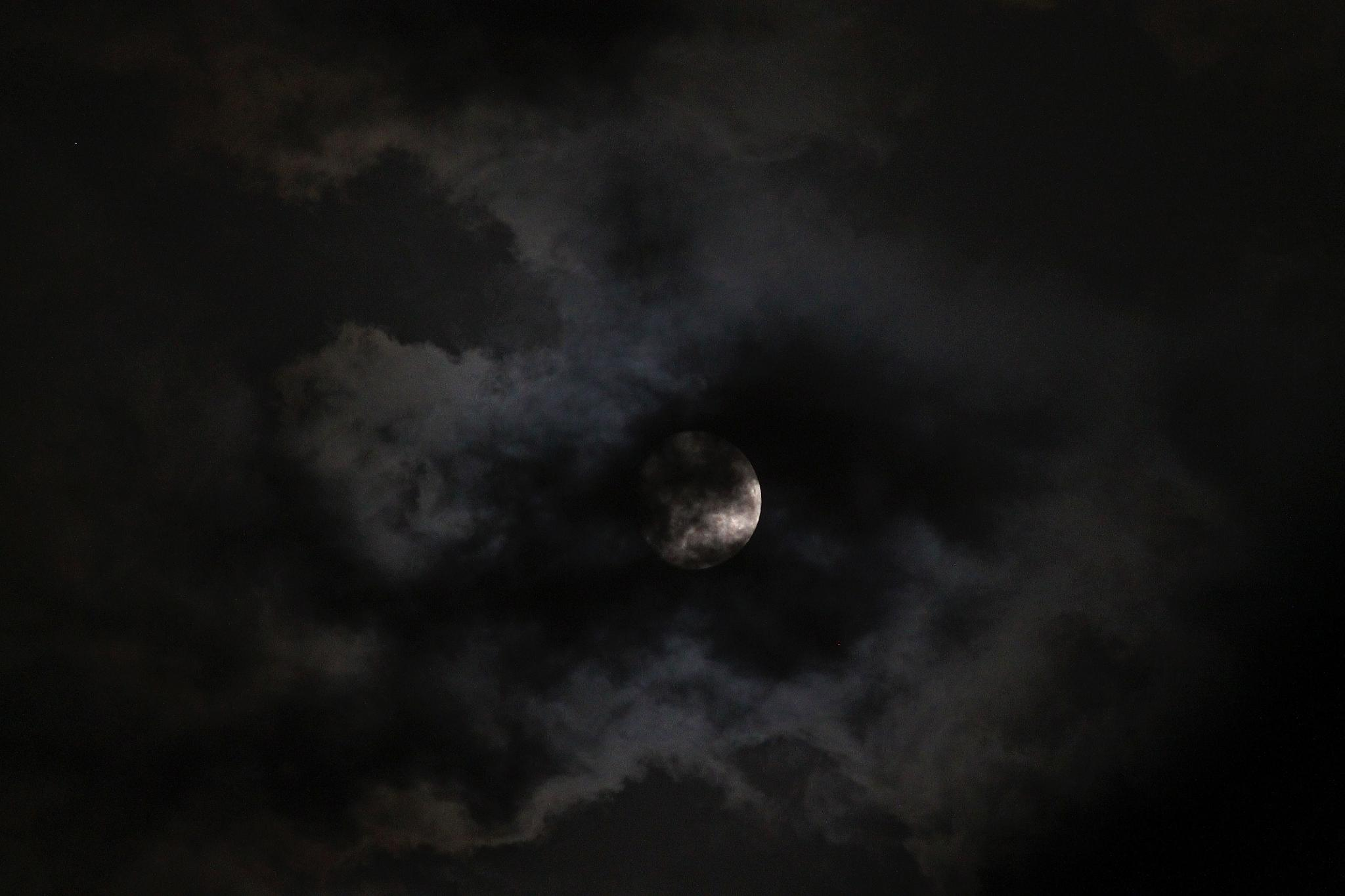 Moon with clouds 2 by ananthatejas
