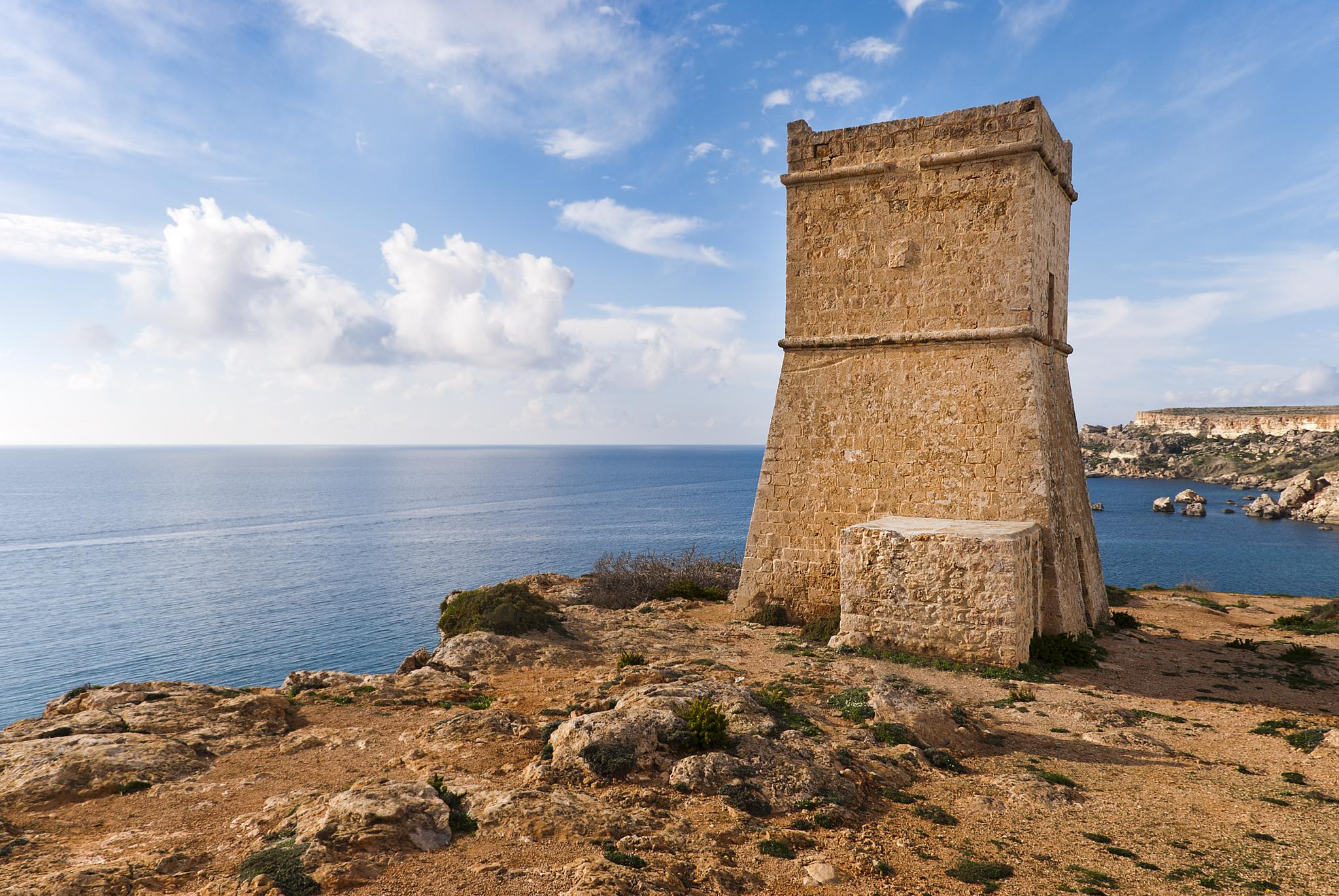 Photo in Architecture #tower #architecture #malta #defense #knights of st john #ghajn tuffieha #horizon #bay #cliffs