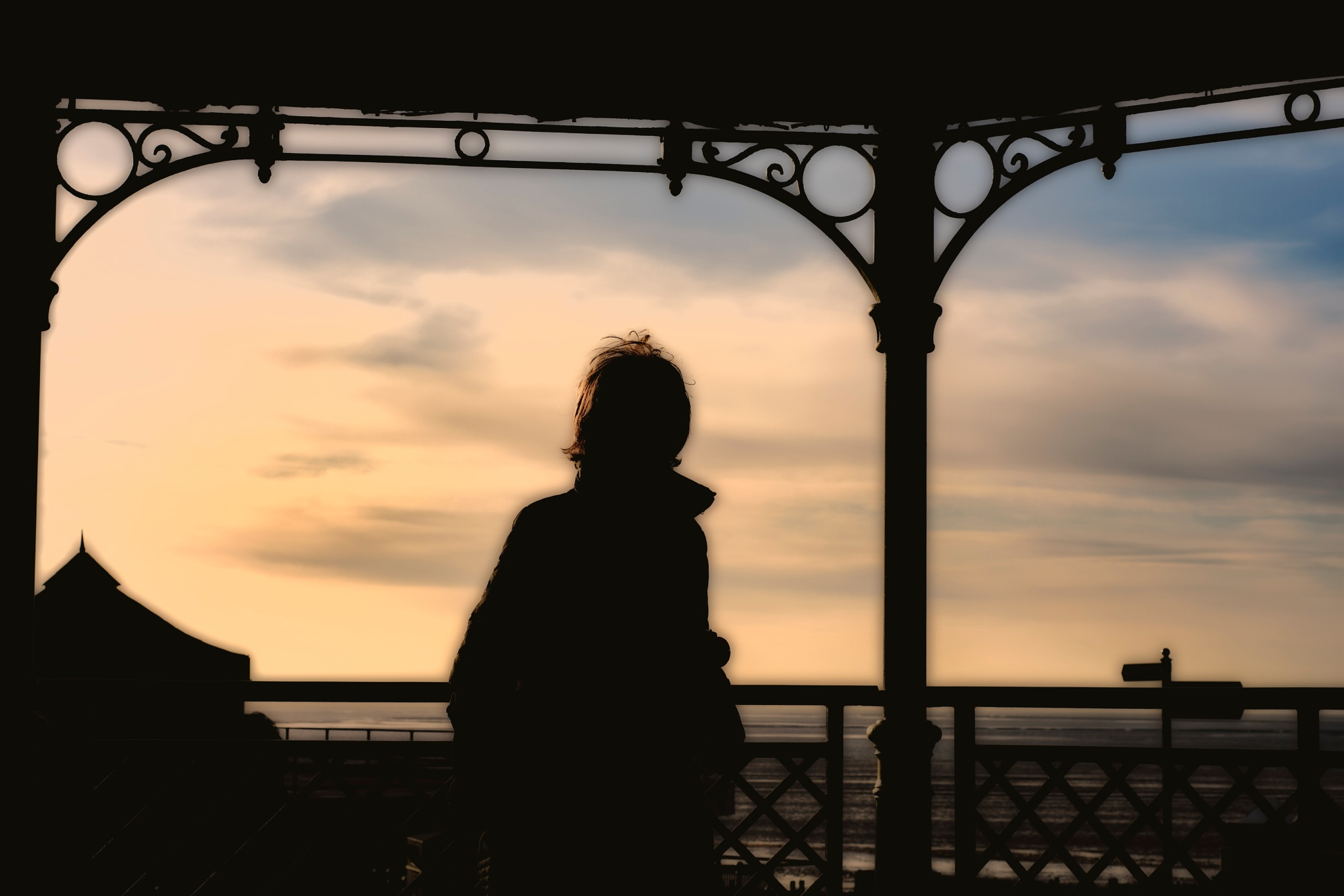 Silhouetted Jackie at Hunstanton beach by Tom P