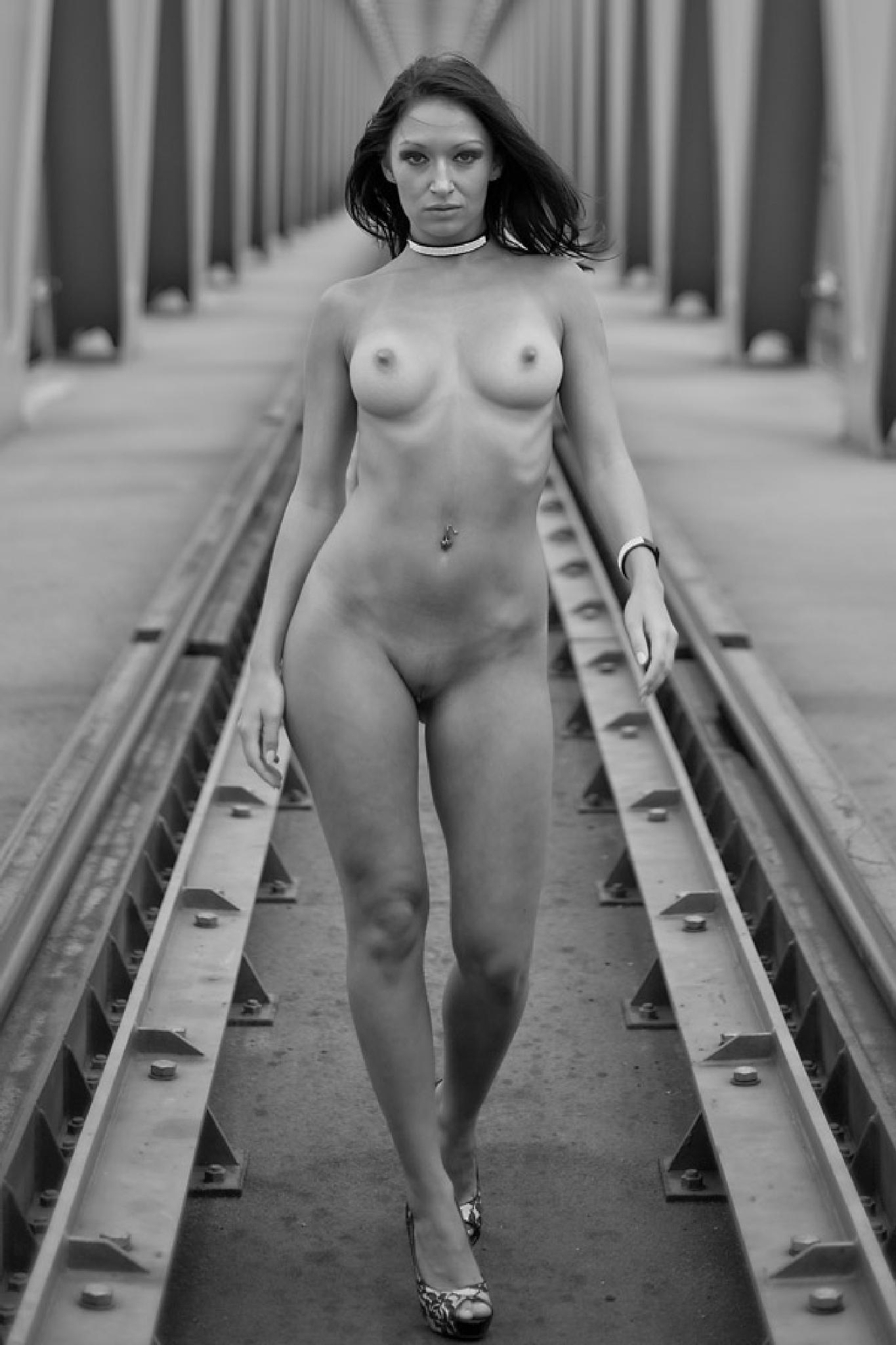 nude on the bridge by jozseftoth
