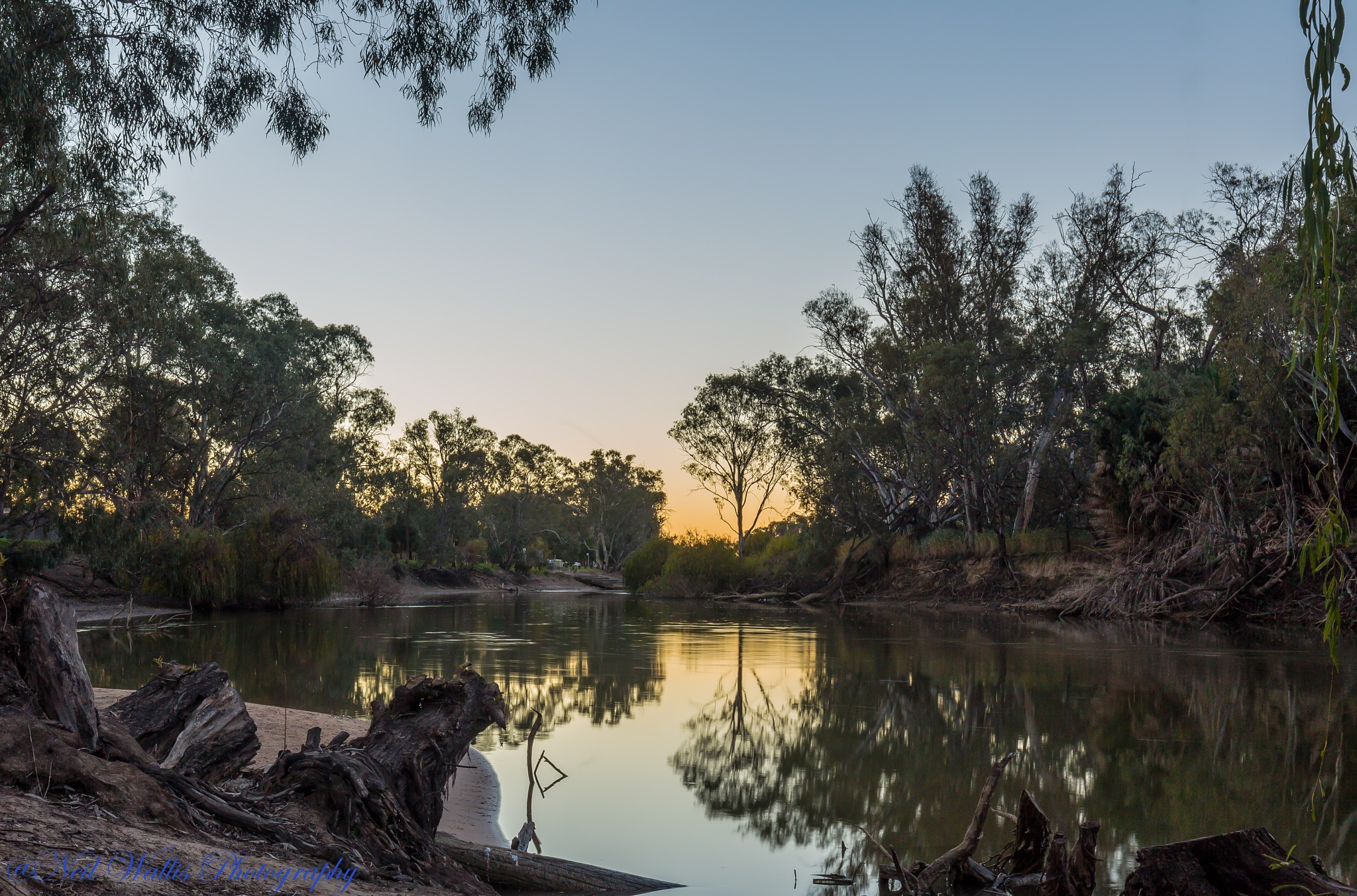 Approaching sunset on the  Murray River by Neil Wallis