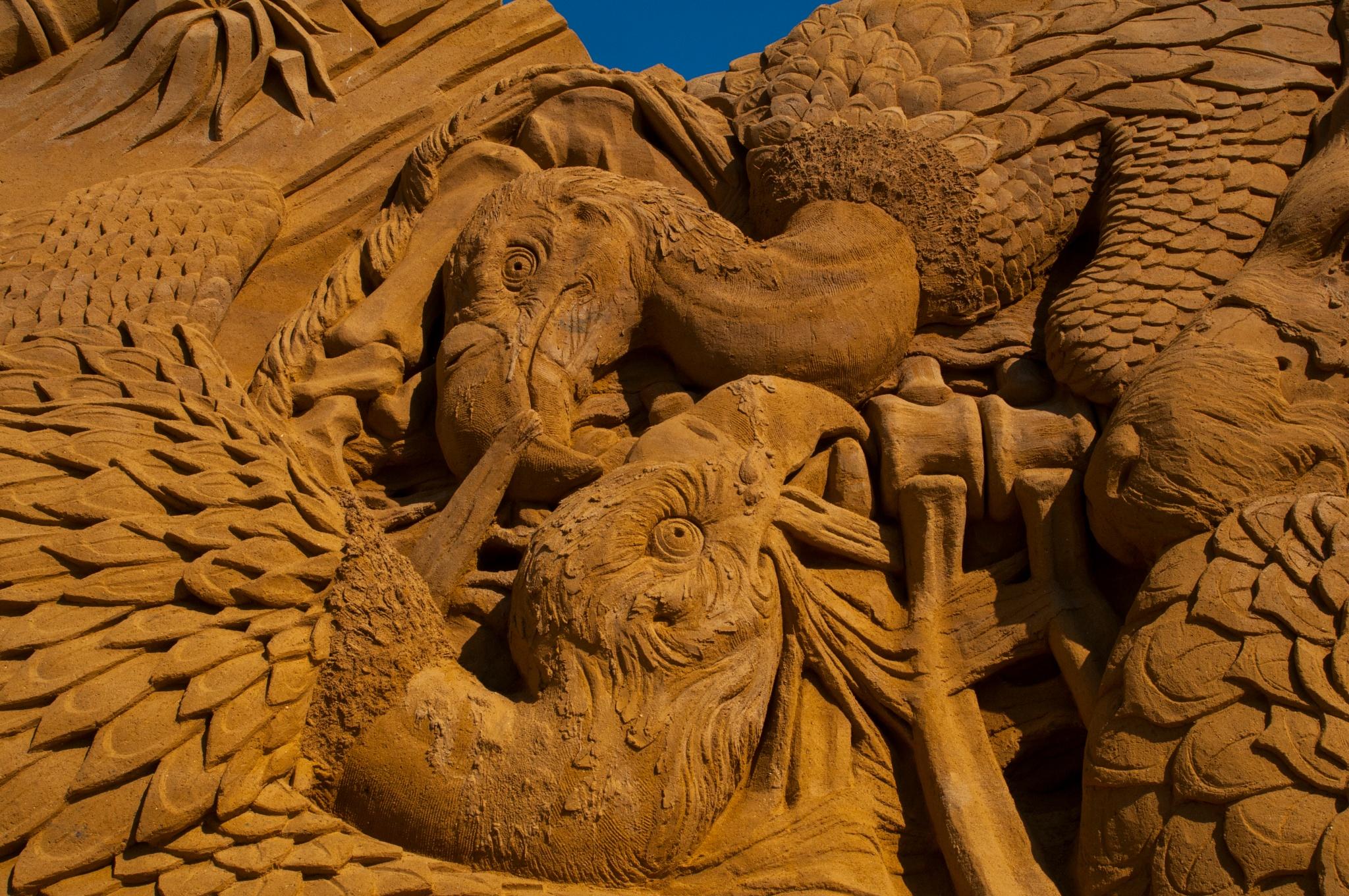 Photo in Sea and Sand #vultures #søndervig sandsculpture festiv #2016