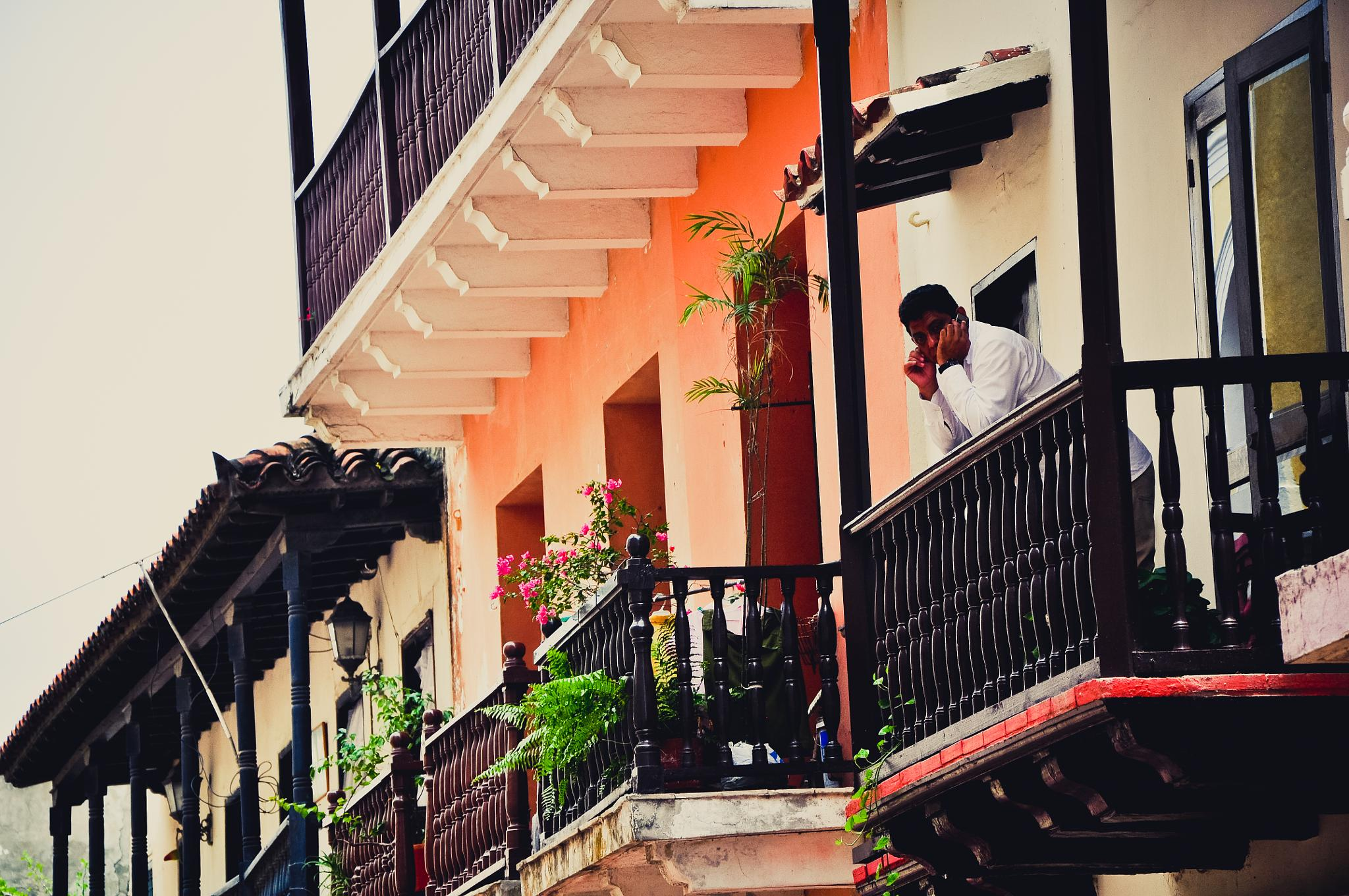 Colonial Architecture in Old Town Cartagena (Colombia) by Jiri Bielicky
