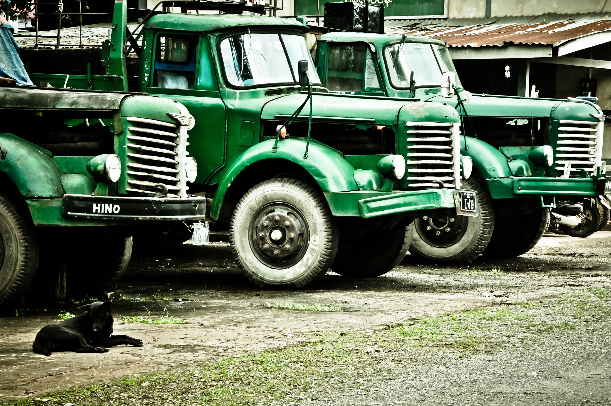 Old Green Trucks (Myanmar) by Jiri Bielicky