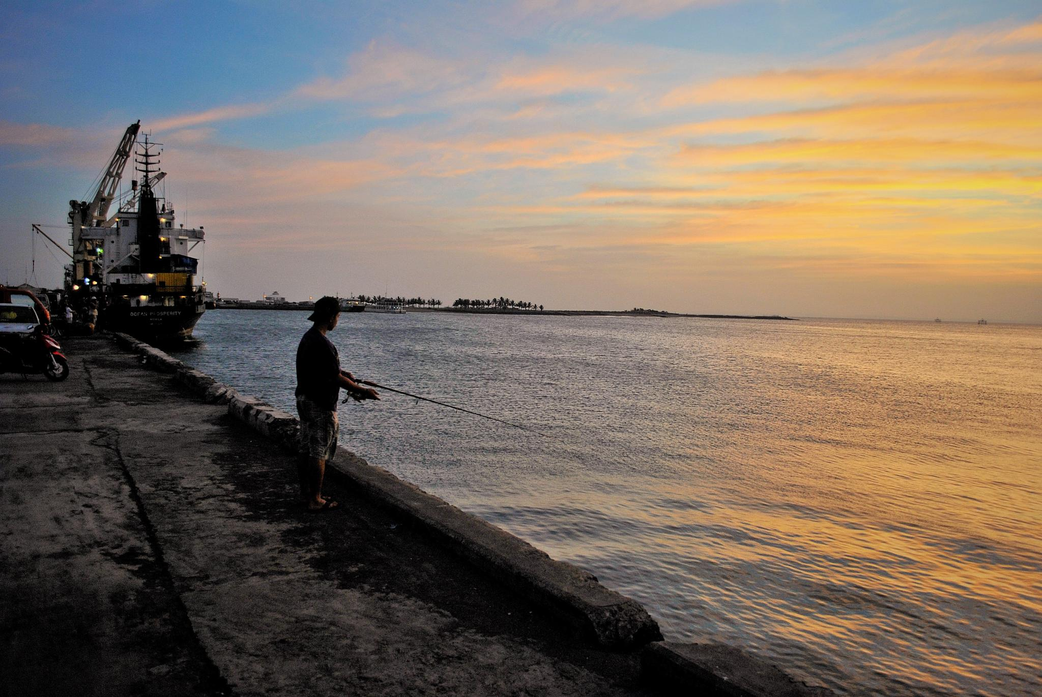 Sunset fishing by george