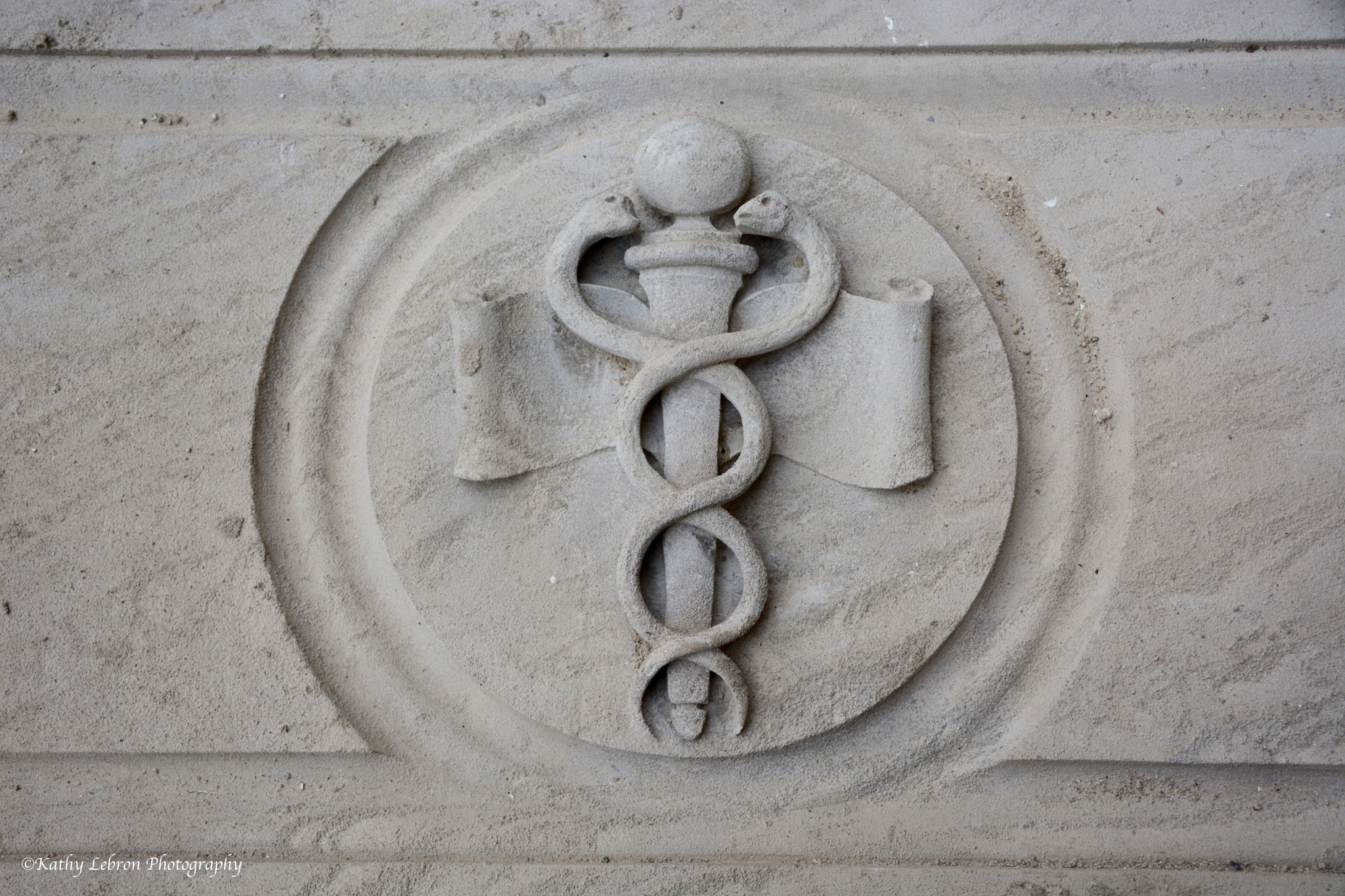 Caduceus Carved in Marble by Kathy Lebron Photography