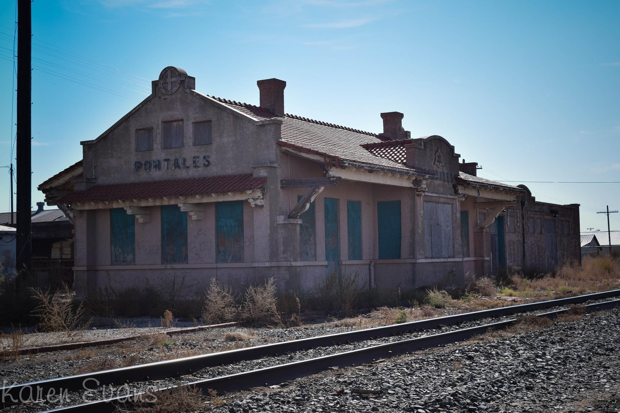 Small town train depot by Karen Evans