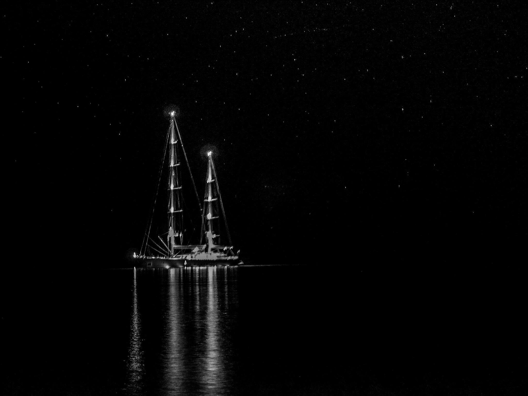 Photo in Sea and Sand #stars #dark #sea #yacht #party #night #tilos #greece #dodekaneese