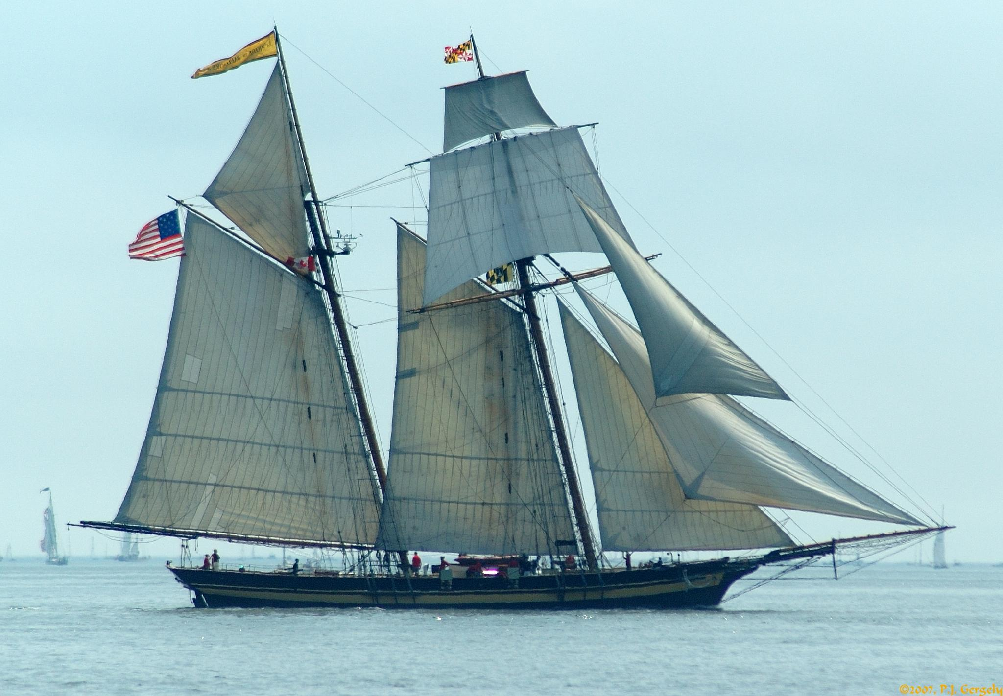 """Tall Ship """"Pride of Baltimore II"""" @ Halifax Parade of Sail 2007 (20070716-131921-PJG) by P.J. Gergely"""