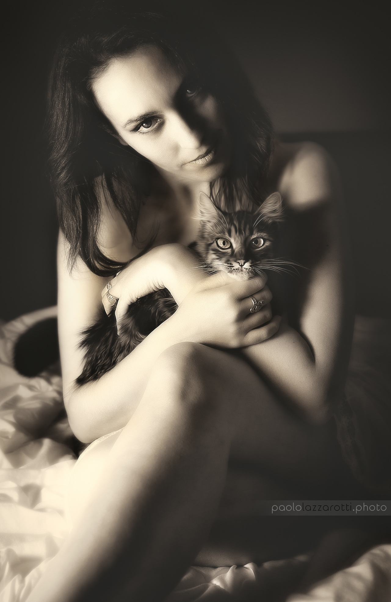 Dame with her Cat by Paolo Lazzarotti