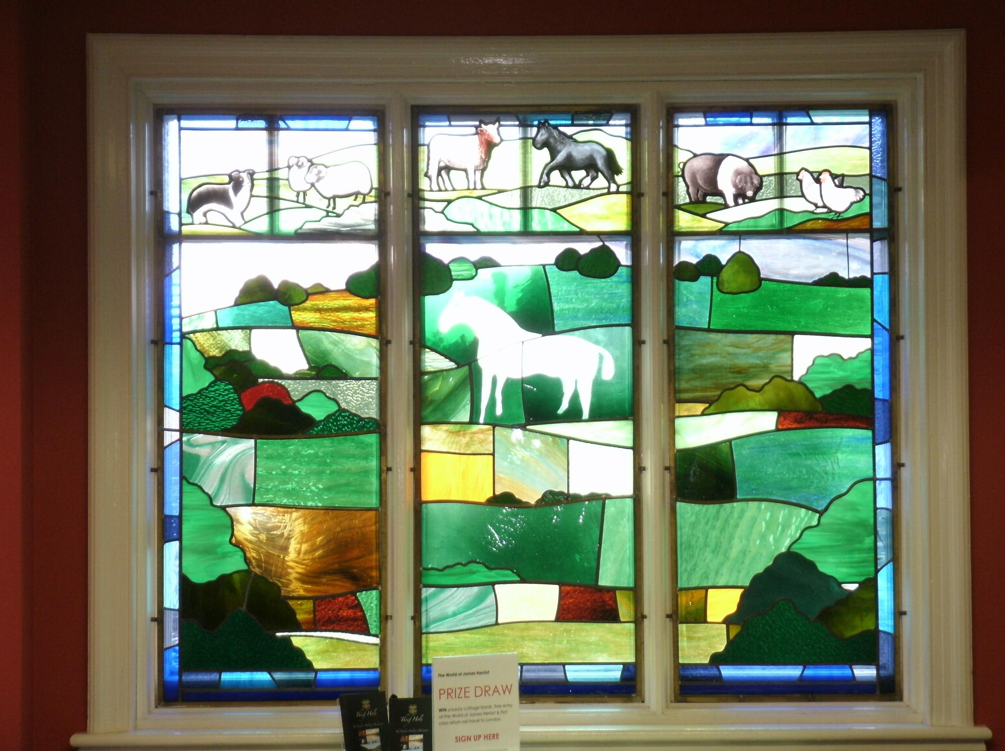 James Herriot vet, stained glass window by joan croll