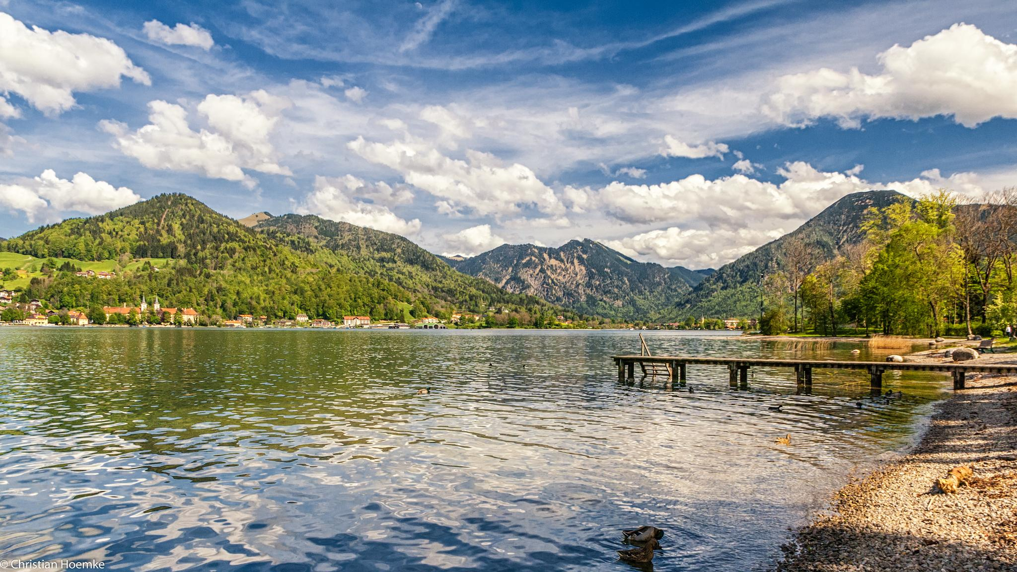 Photo in Landscape #germany #bavaria #alps #tegernsee #lake #mountains #water #sky #clouds #ducks #nature #landscape