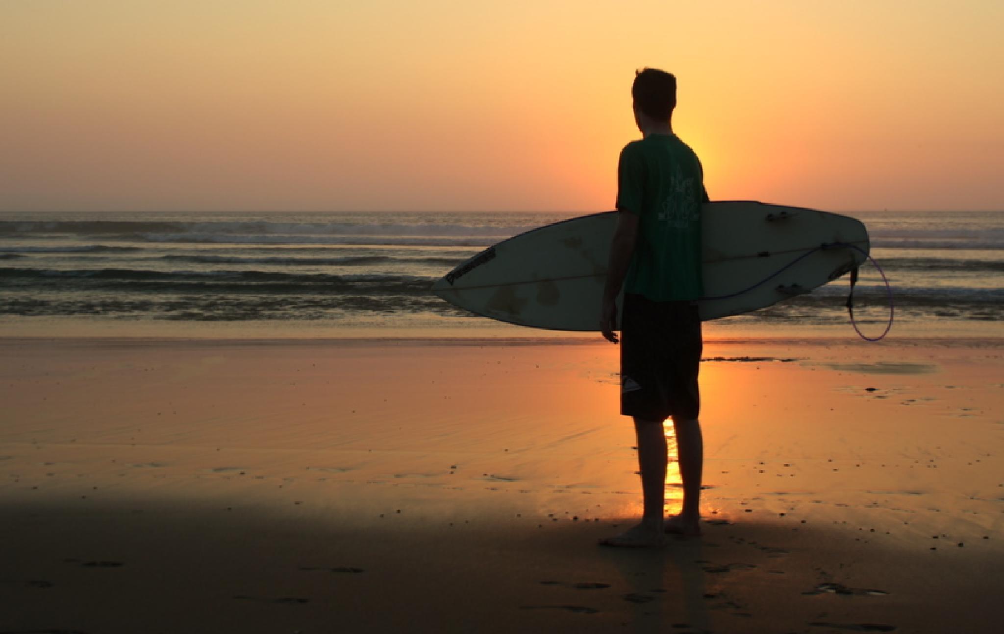Surfer Silhoutte Mimizan Beach by Melfan