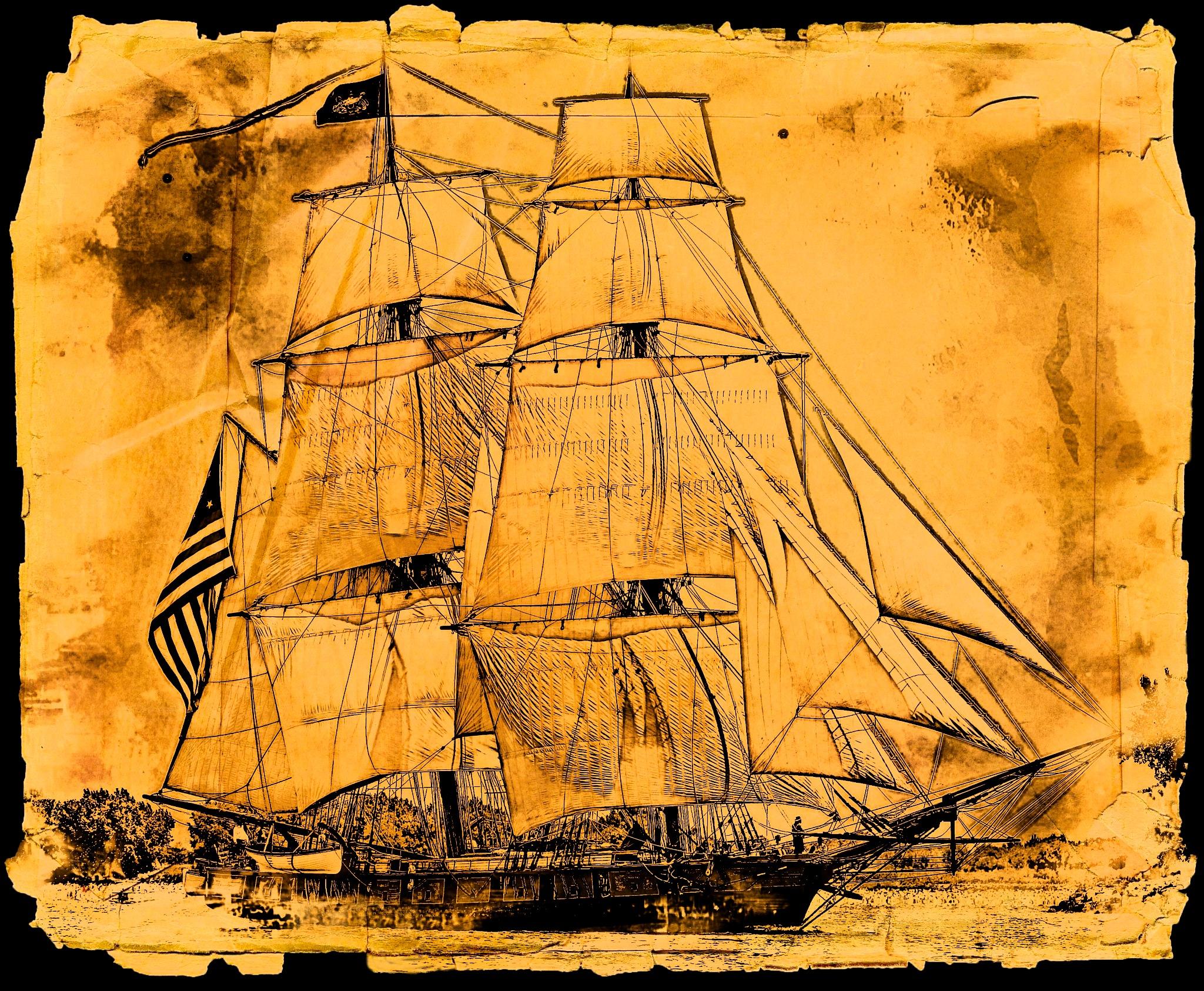 Tall Sailing Ship by Brigitte Werner