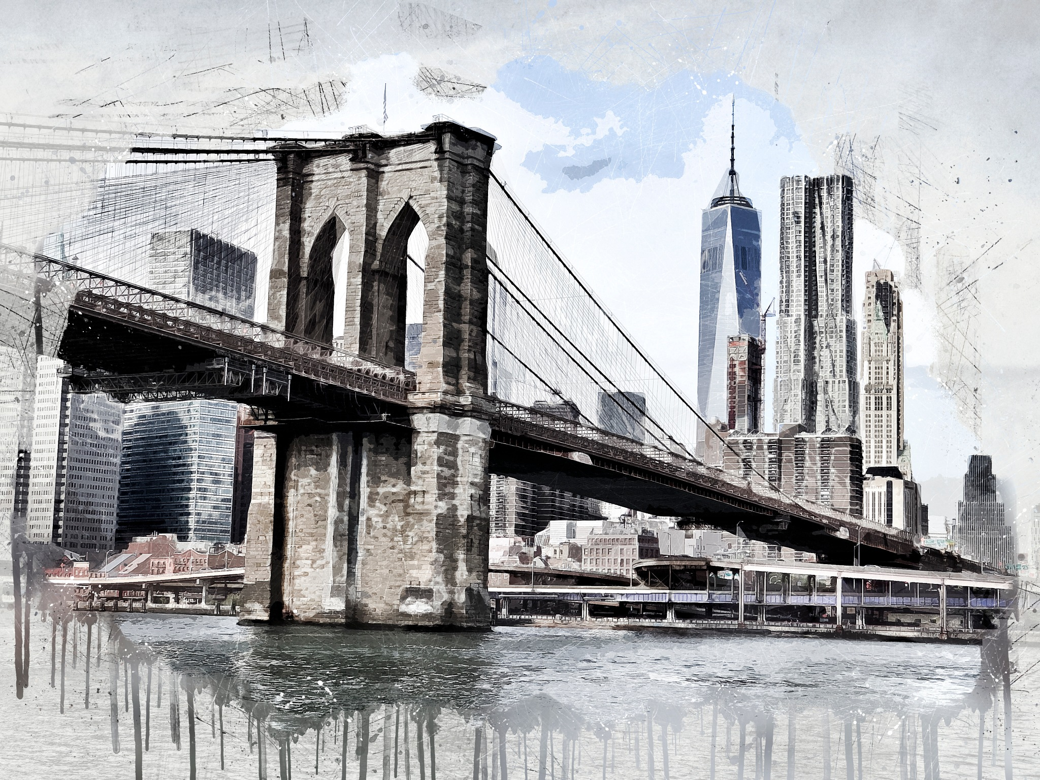 Manhattan Bridge by Art Tower Brigitte Werner
