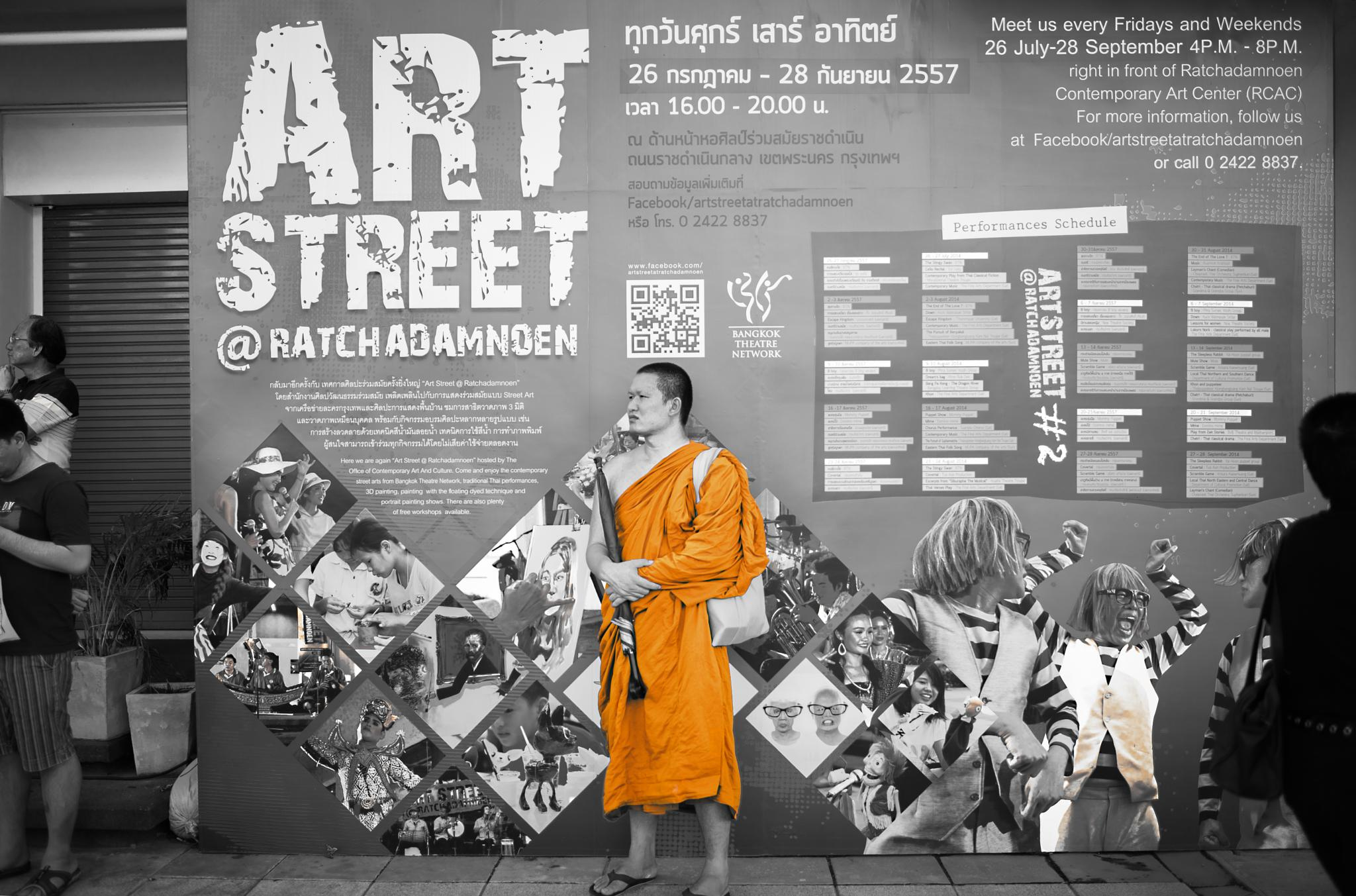 Street monk by Parinya Sangkanon