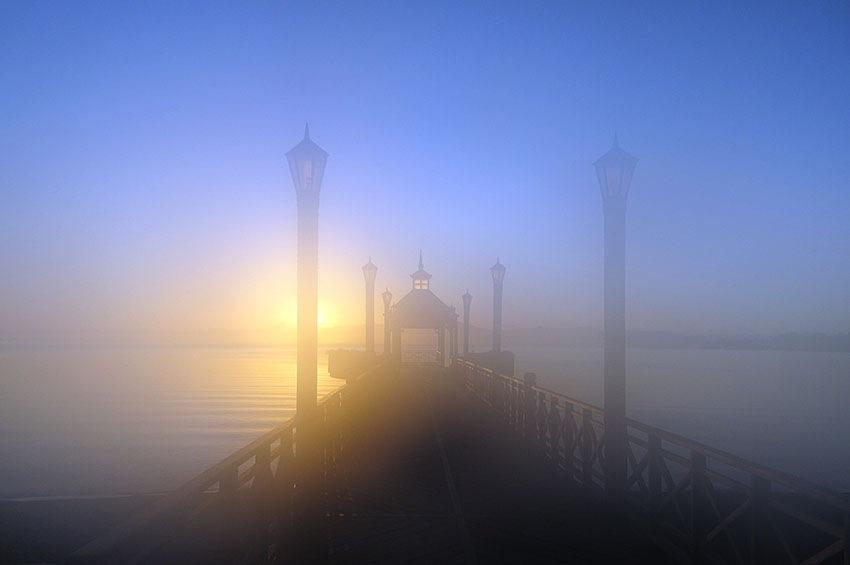 Dock at sunrise by ivankonar