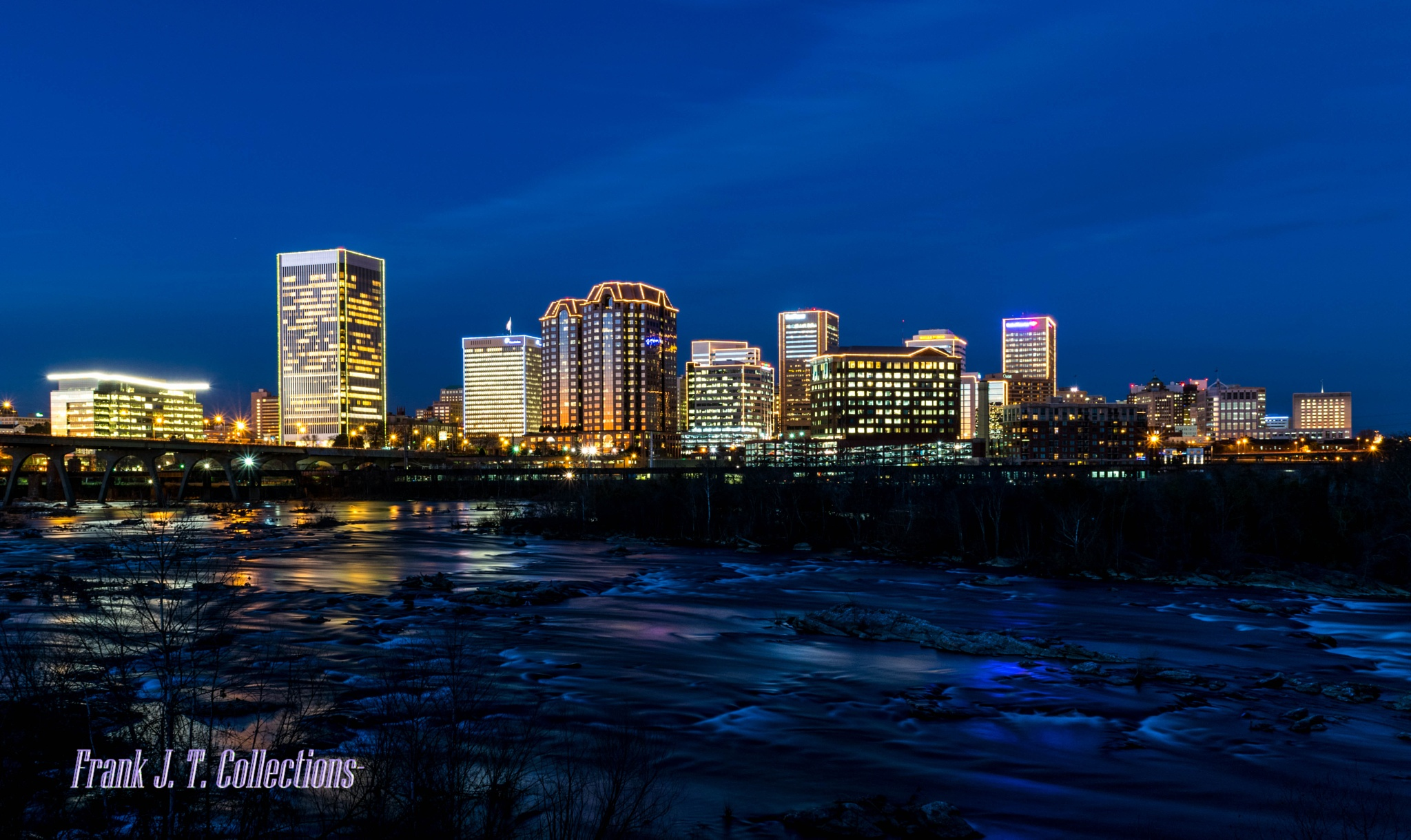 City of Richmond Skyline in Blue by Frank J. Tinsley Collections