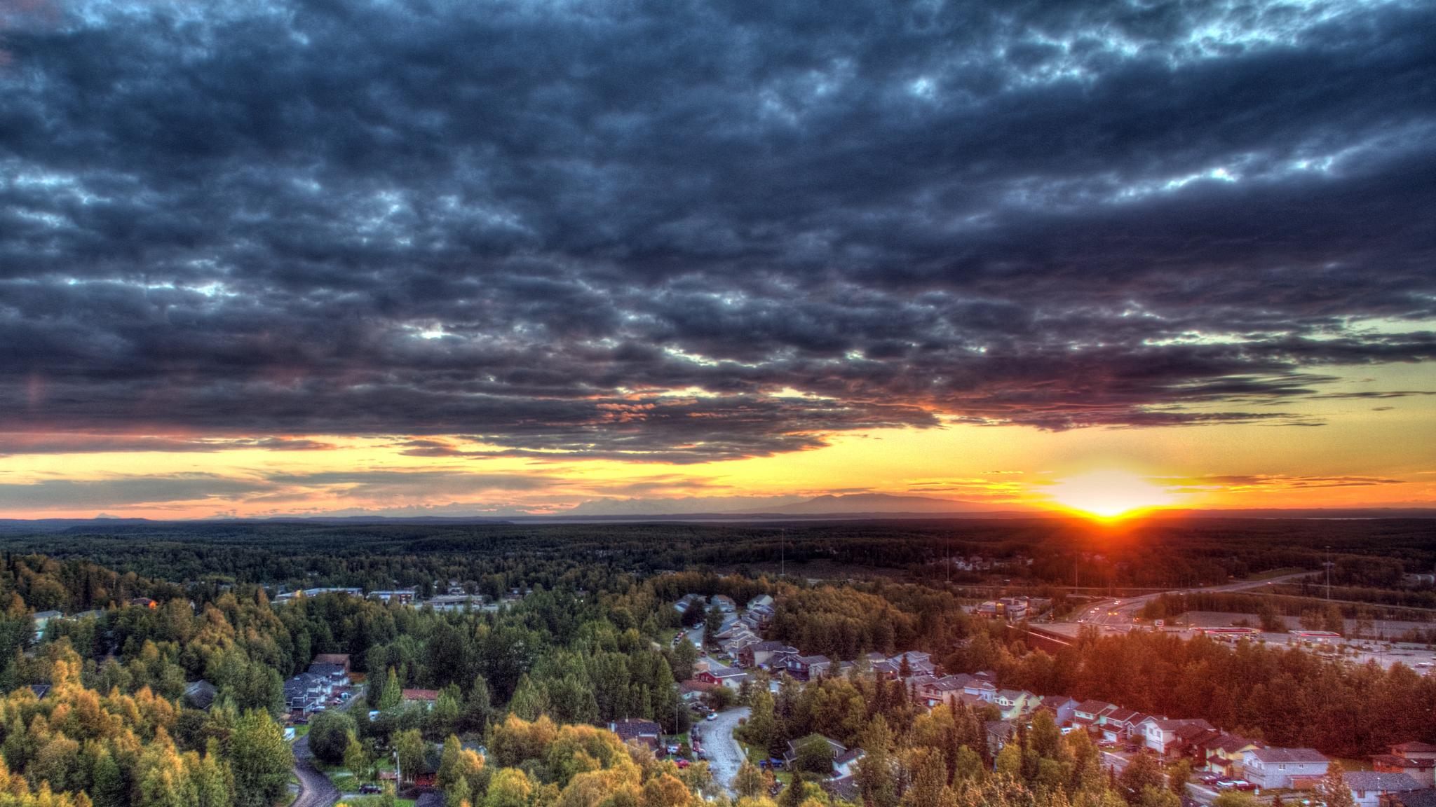 HDR Sunset here in Alaska by Charles Sather